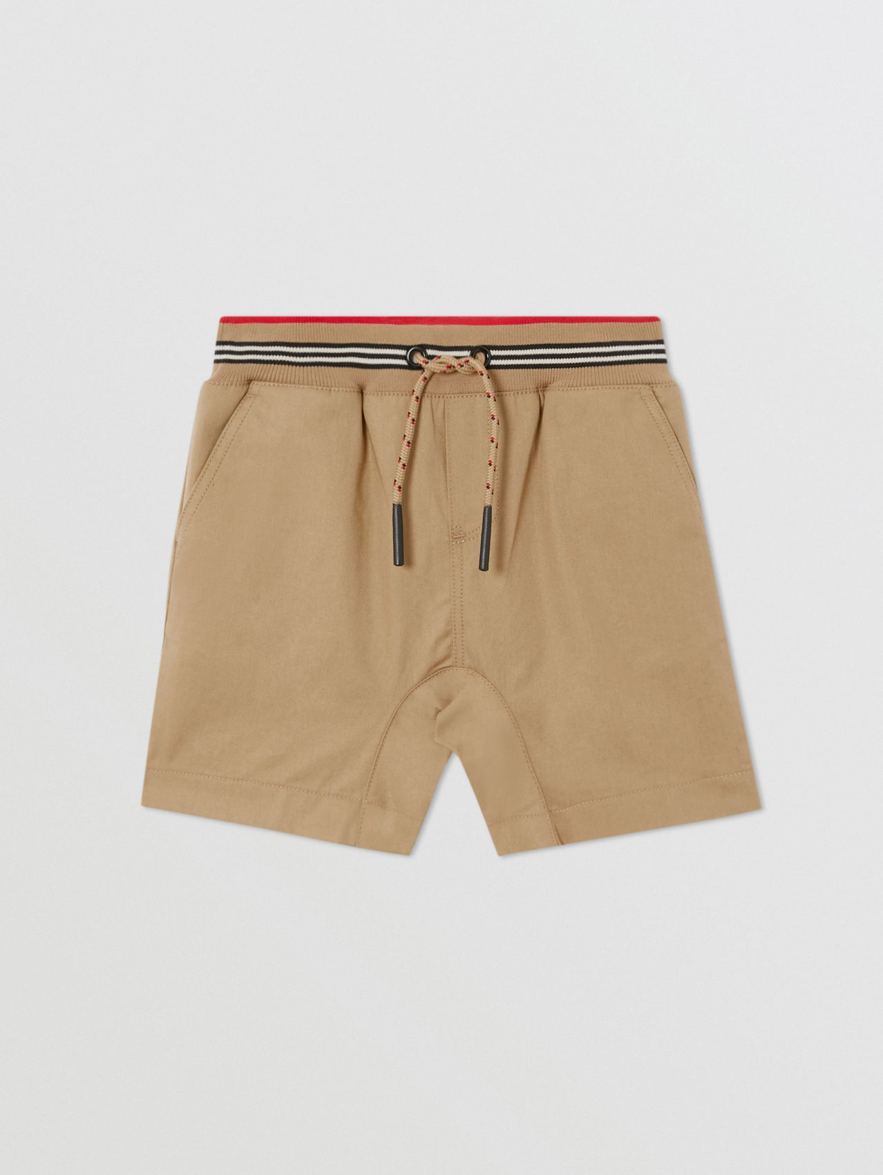 Icon Stripe Detail Cotton Twill Shorts in Archive Beige