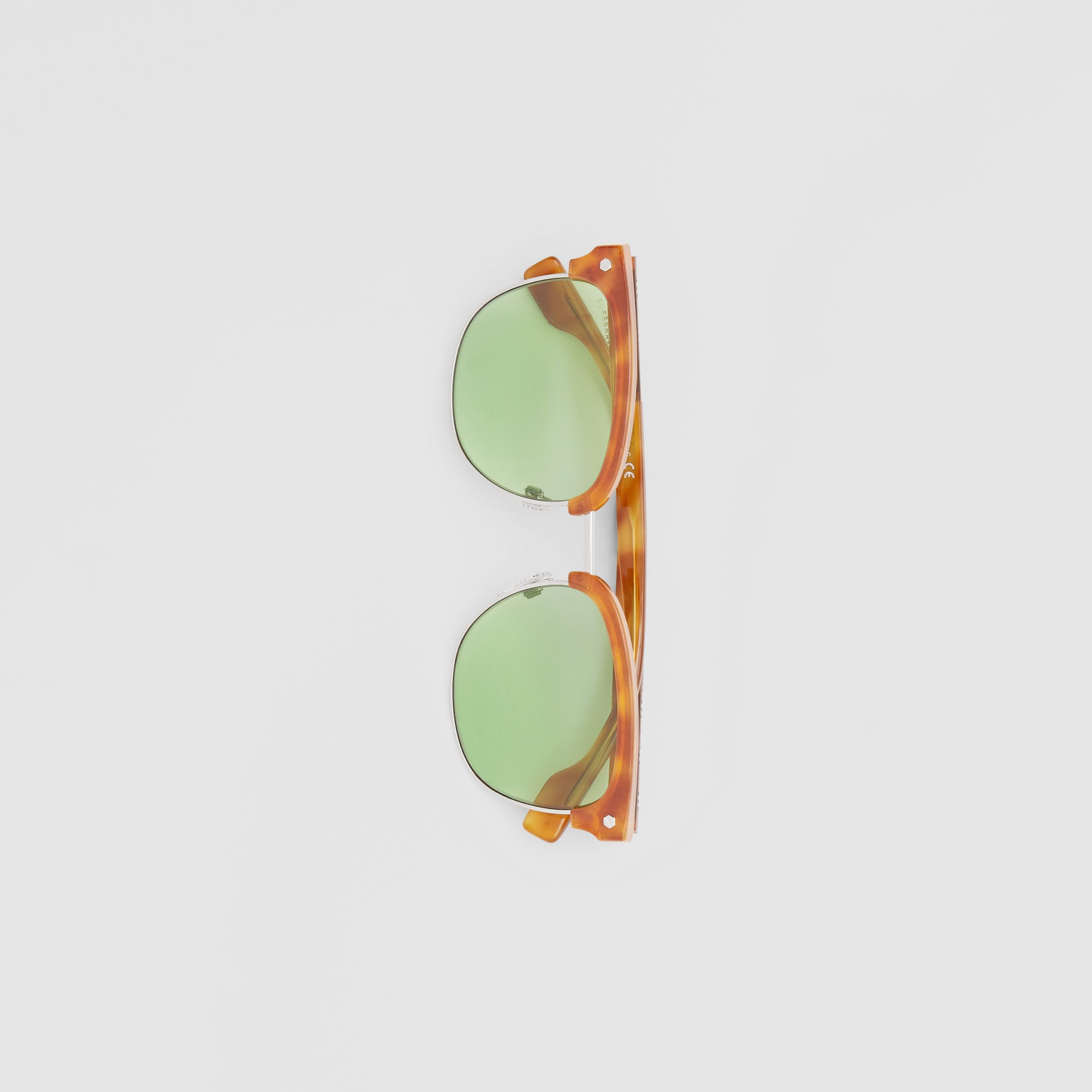 Icon Stripe Detail Square Frame Sunglasses in Bright Tortoiseshell - Men | Burberry - 4