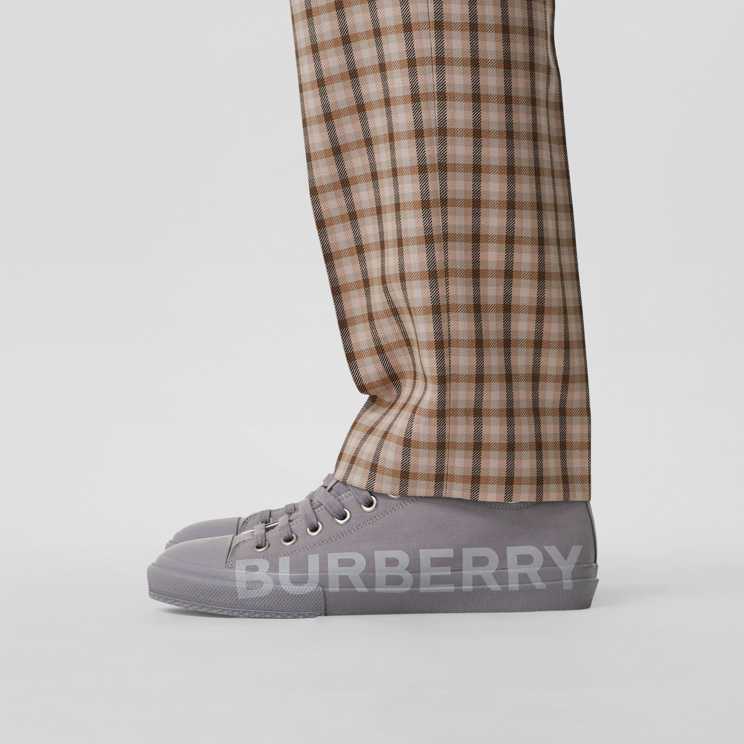 Logo Print Cotton Gabardine Sneakers in Flint Grey - Men | Burberry United States - 3