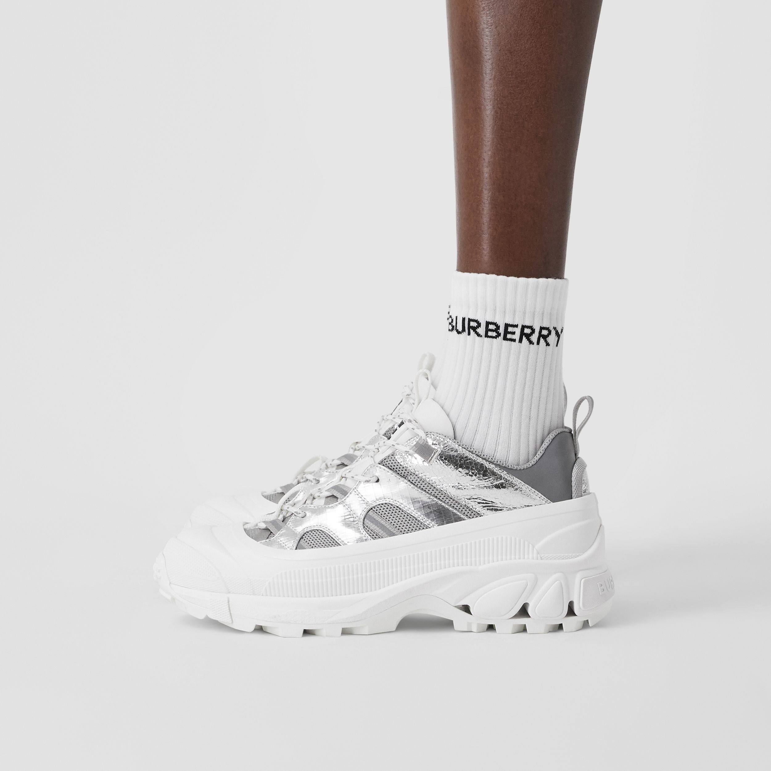 Metallic Leather, Nylon and Mesh Arthur Sneakers in Silver - Women | Burberry Canada - 3