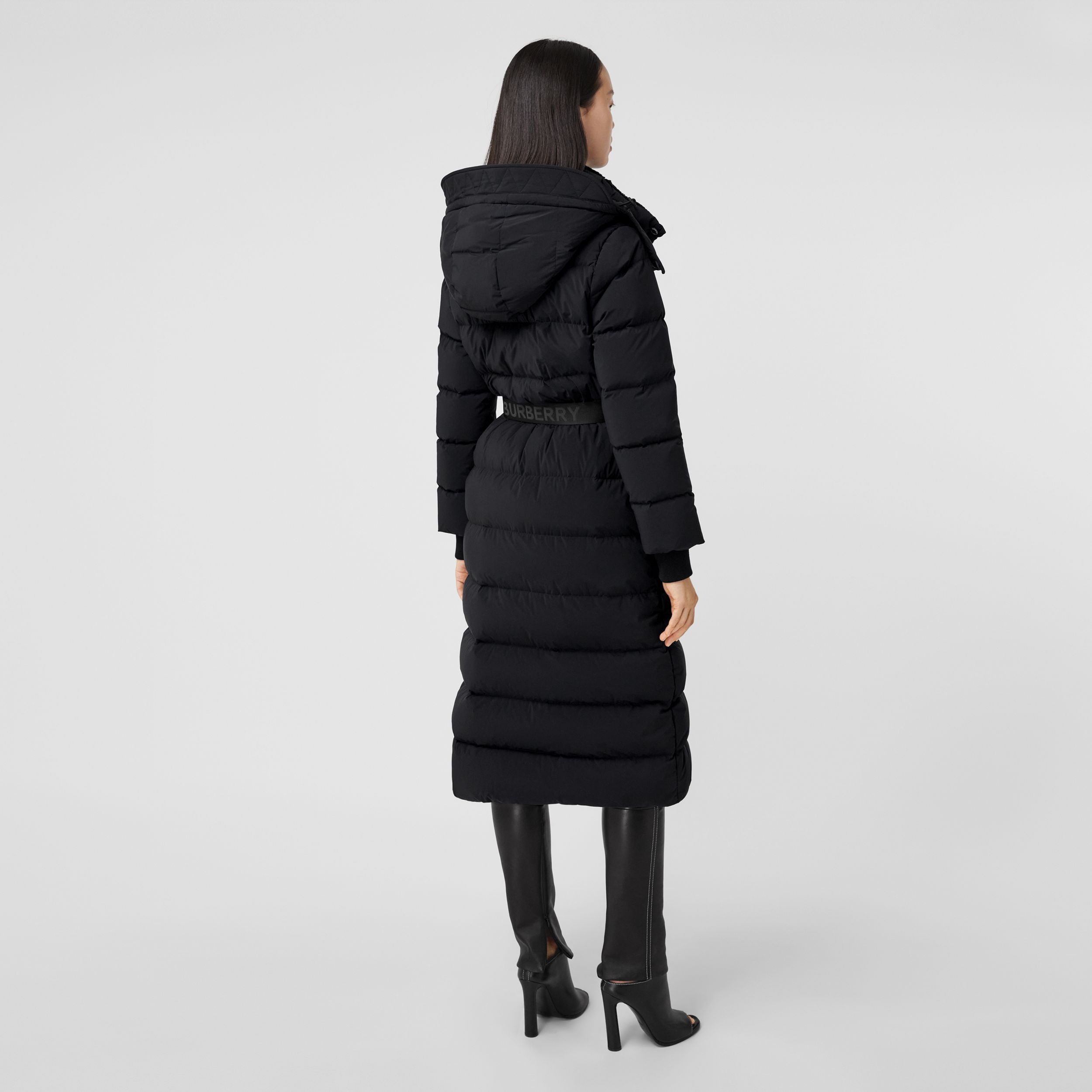 Detachable Hood Belted Puffer Coat in Black - Women | Burberry - 3