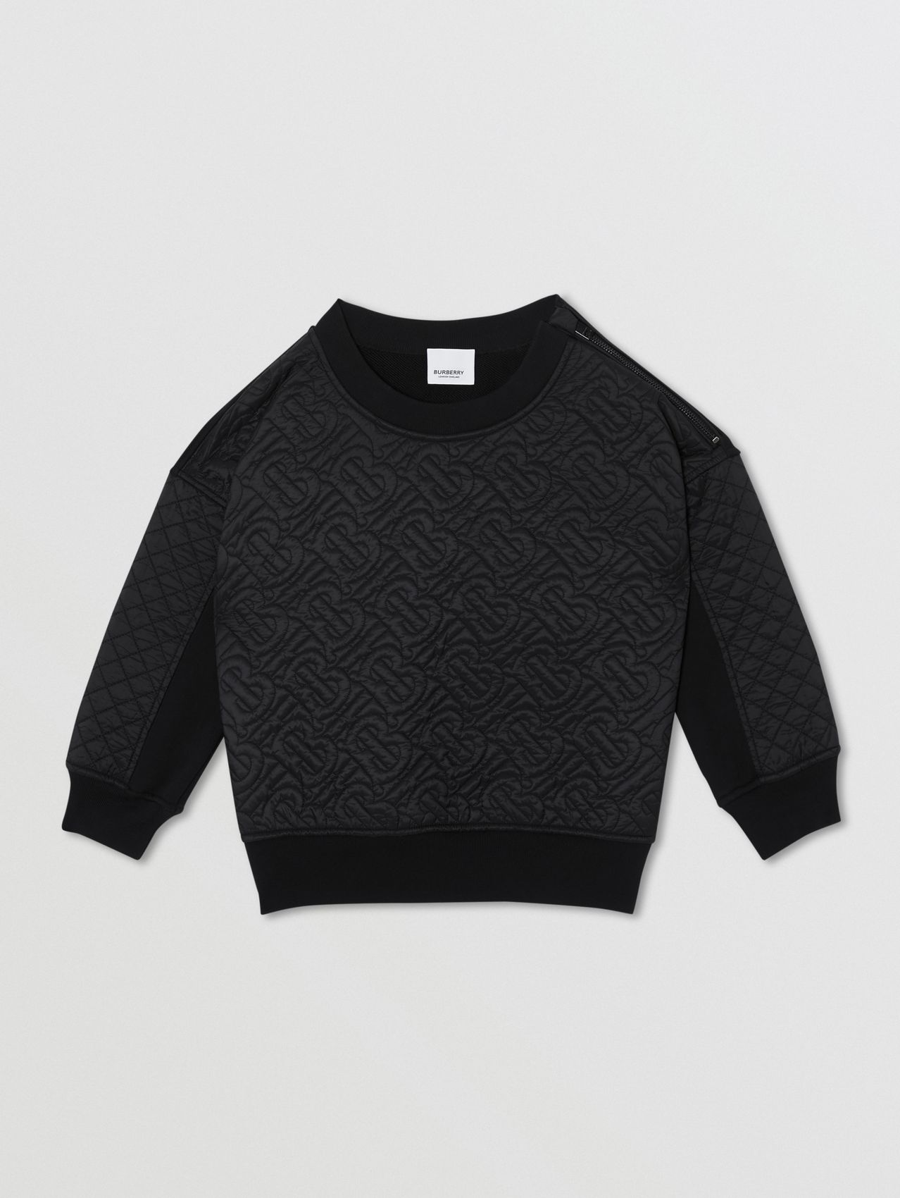 Sweat-shirt en coton matelassé Monogram (Noir)