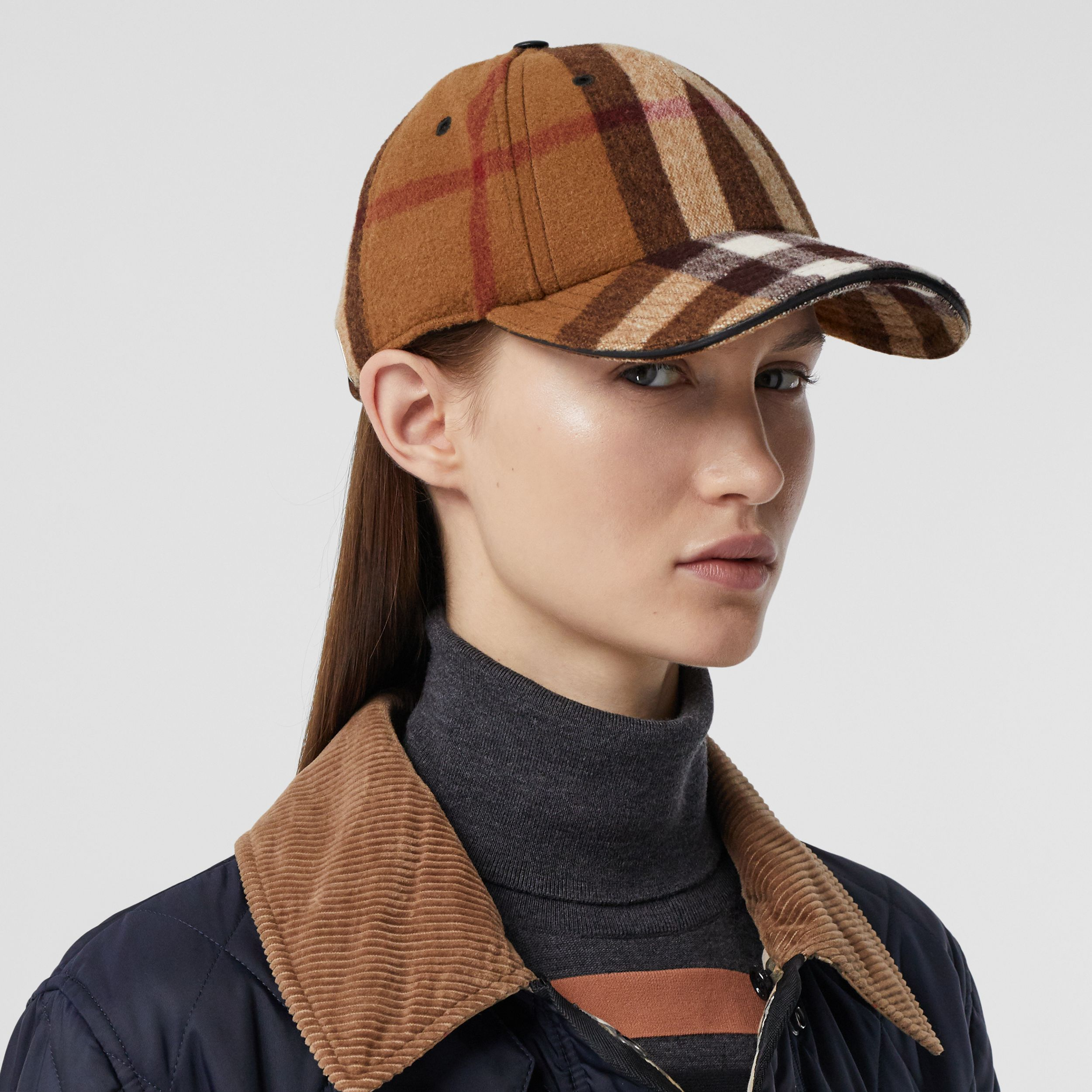 Lambskin Trim Check Wool Baseball Cap in Birch Brown | Burberry - 3