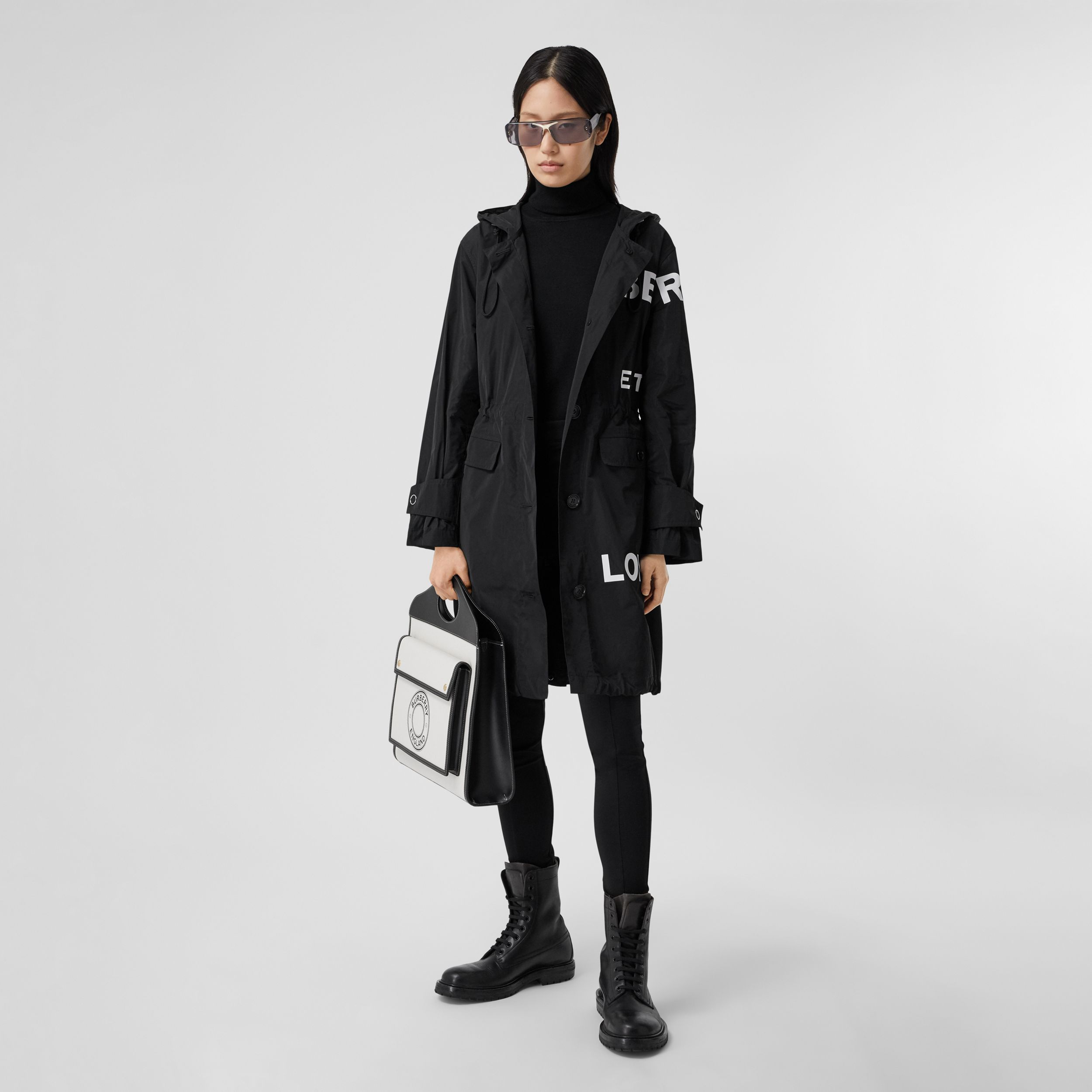 Horseferry Print Nylon Parka in Black - Women | Burberry United States - 1