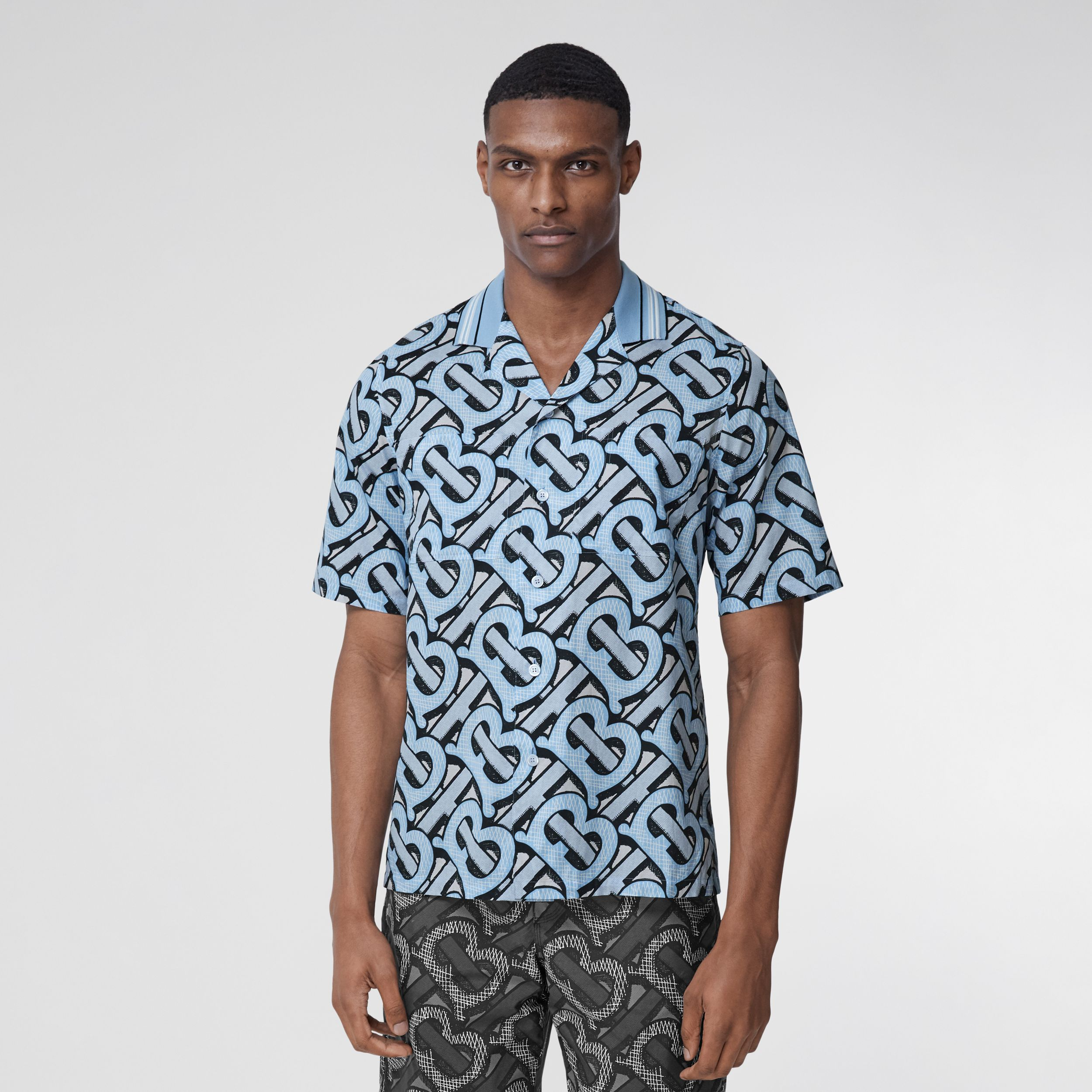 Short-sleeve Monogram Print Cotton Shirt – Unisex in Pale Azure | Burberry Australia - 3