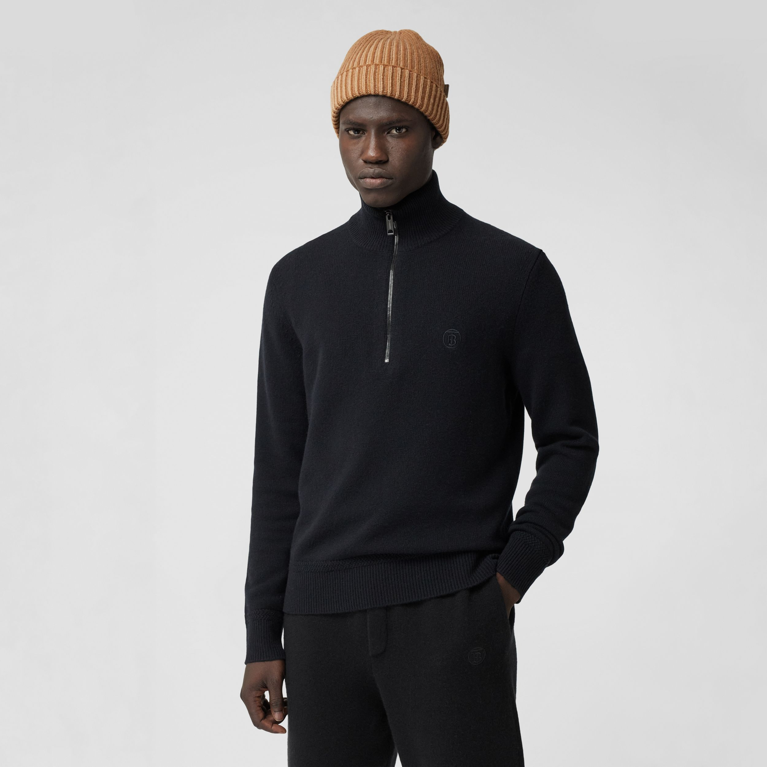 Monogram Motif Cashmere Funnel Neck Sweater in Black - Men | Burberry United Kingdom - 1