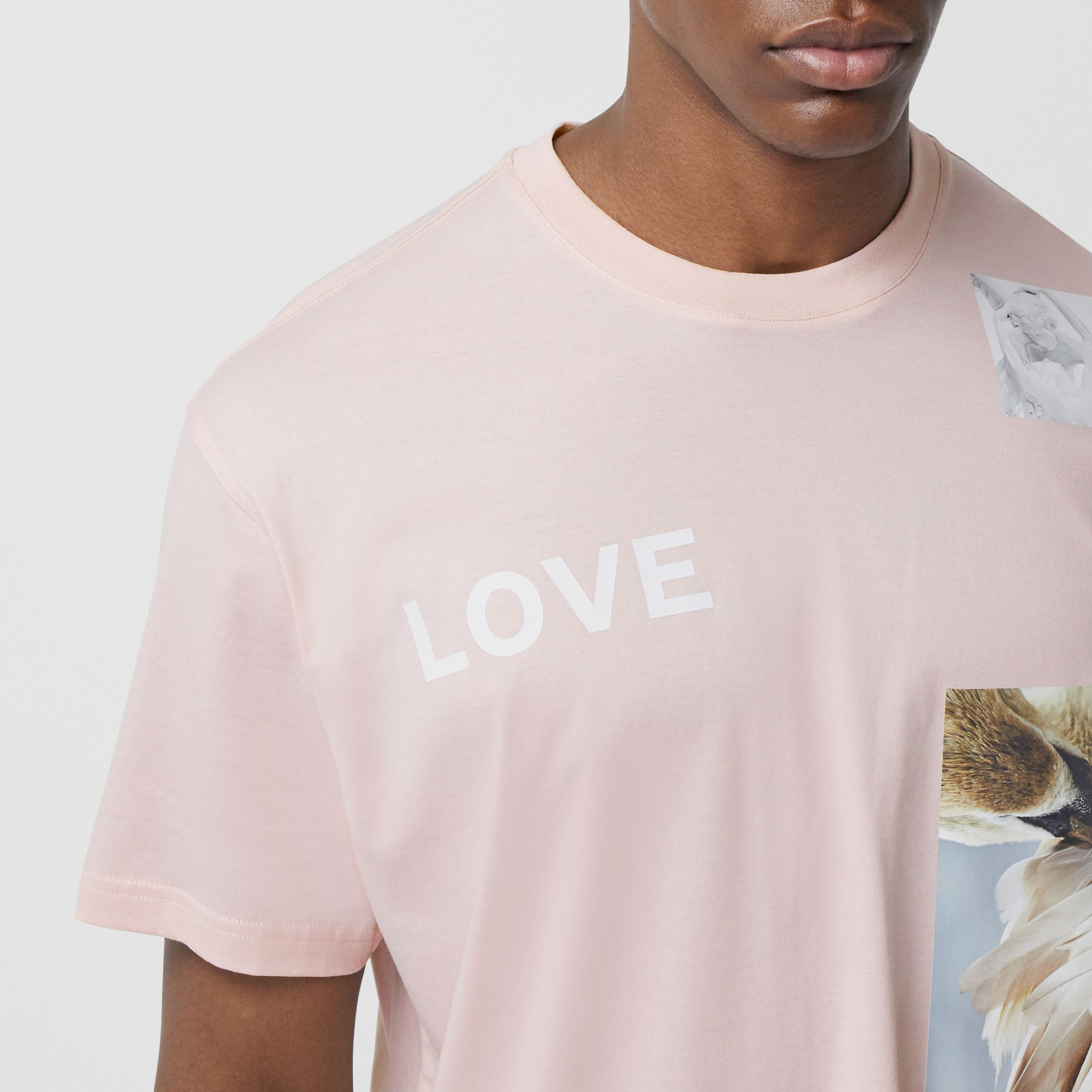 Montage Print Cotton Oversized T-shirt in Alabaster Pink - Men | Burberry - 2