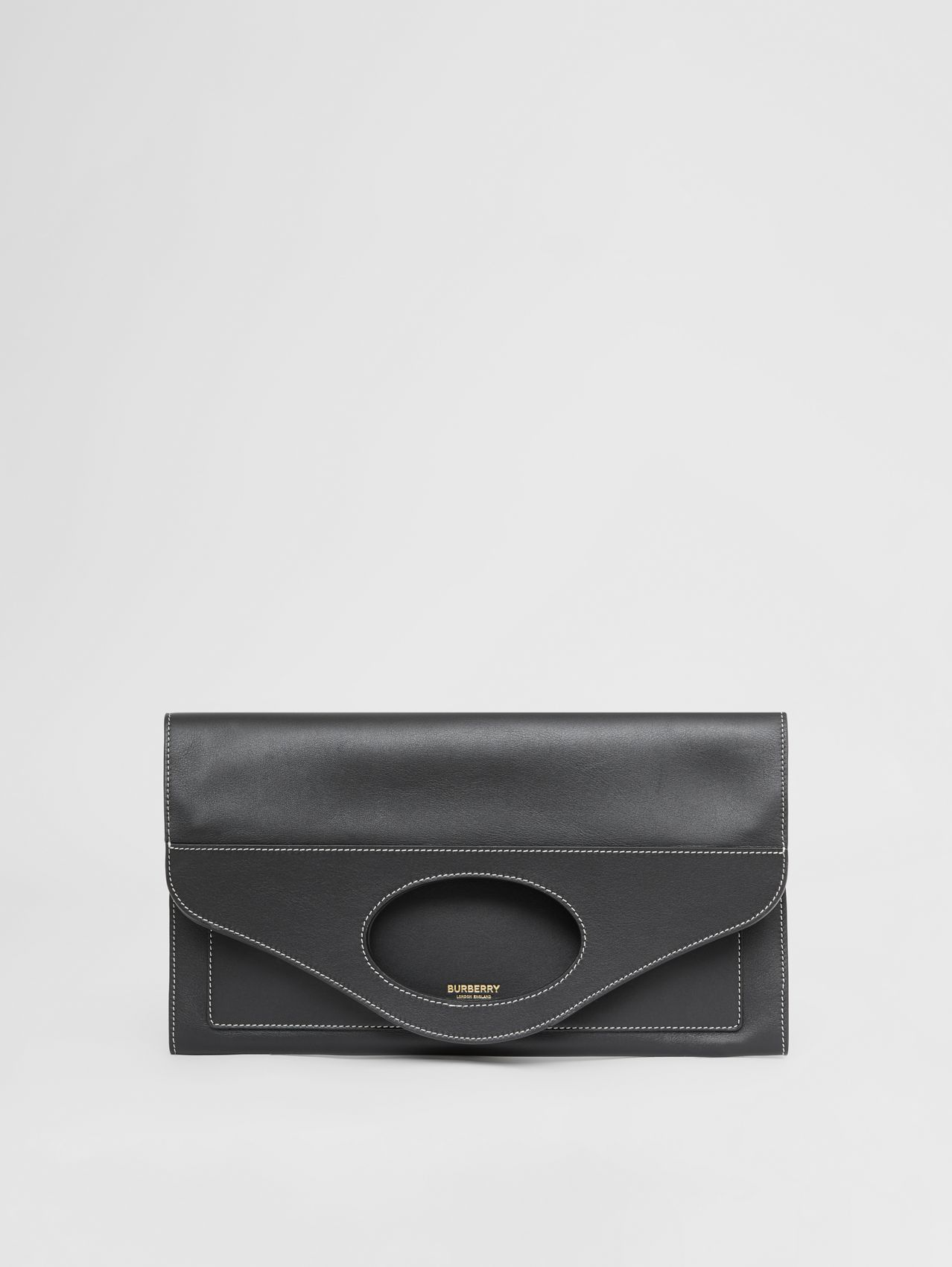 Small Topstitched Leather Pocket Clutch in Black