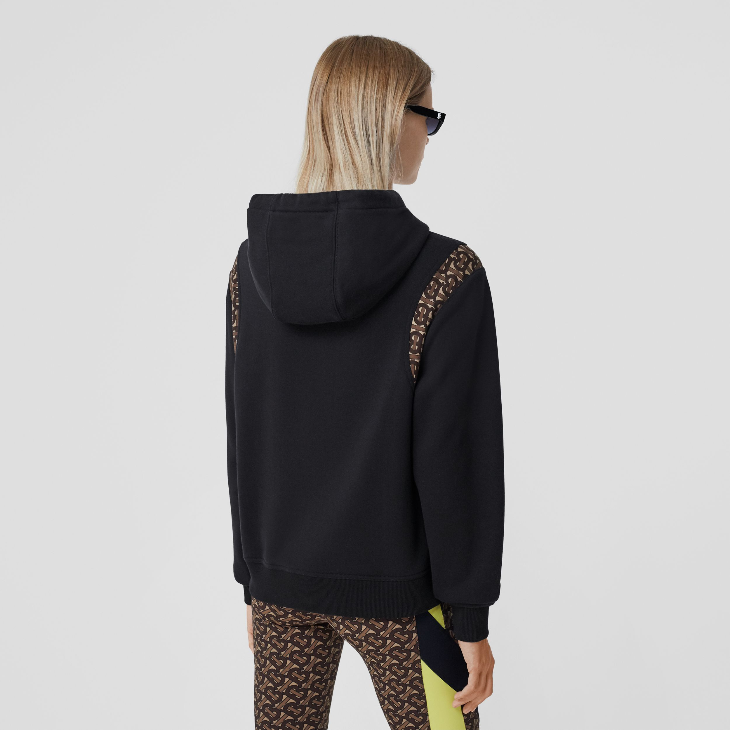 Monogram Print Panel Cotton Oversized Hoodie in Black - Women | Burberry - 3