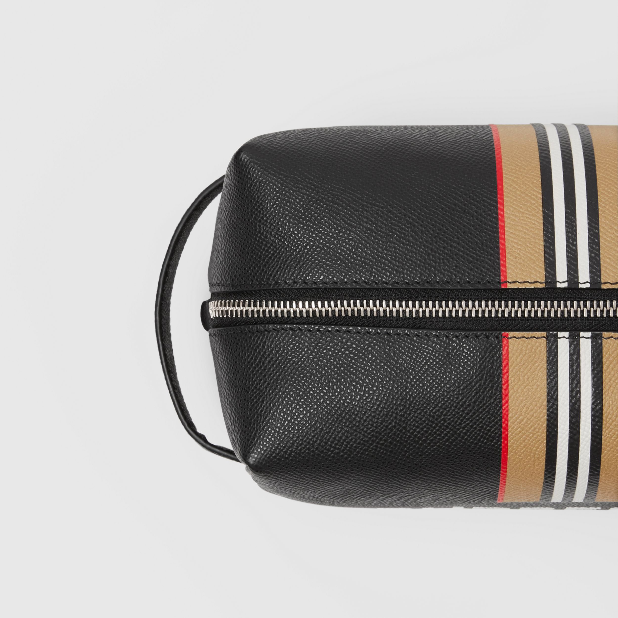 Logo and Icon Stripe Print Leather Travel Pouch in Black - Men | Burberry - 2