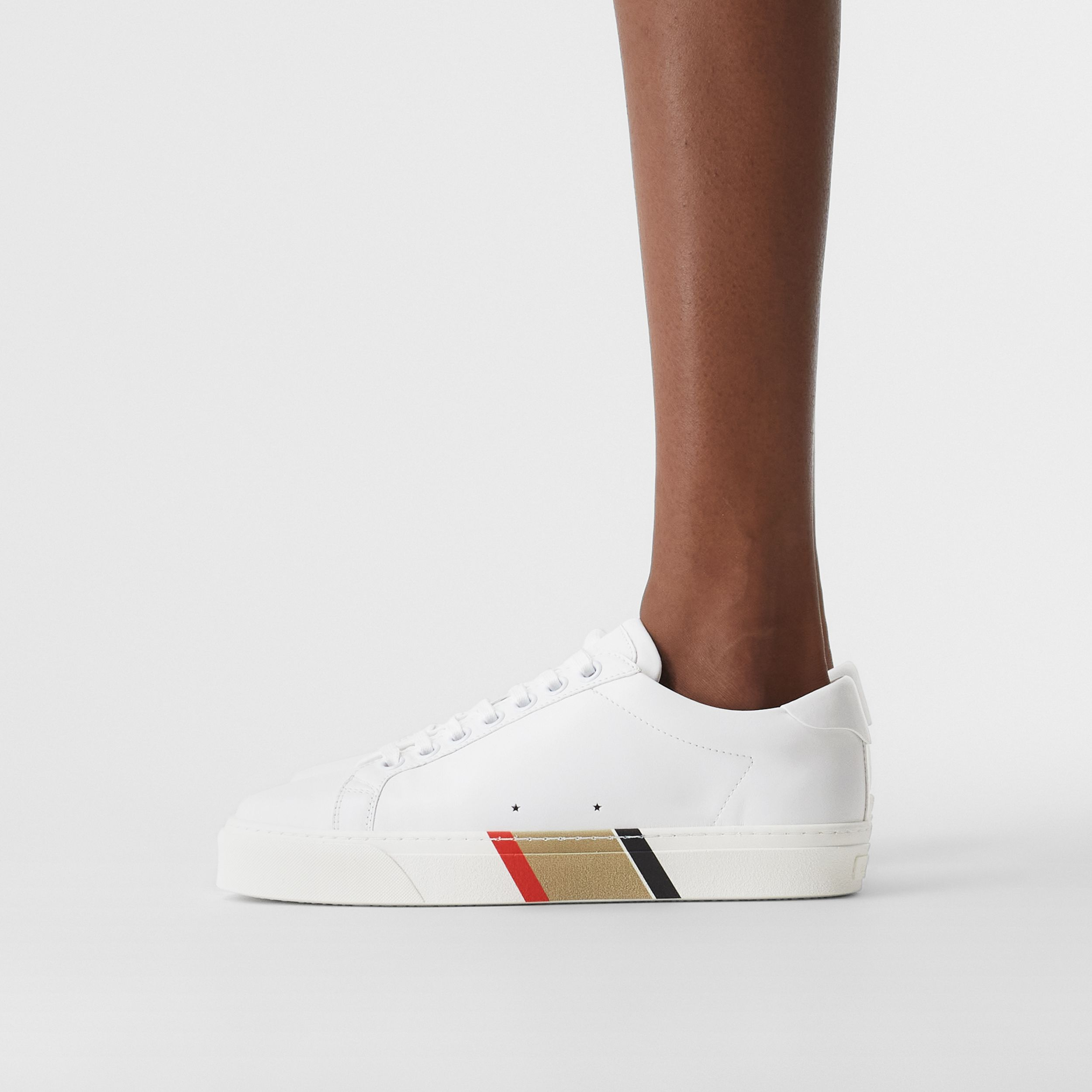 Bio-based Sole Leather Sneakers in Optic White - Women | Burberry - 3
