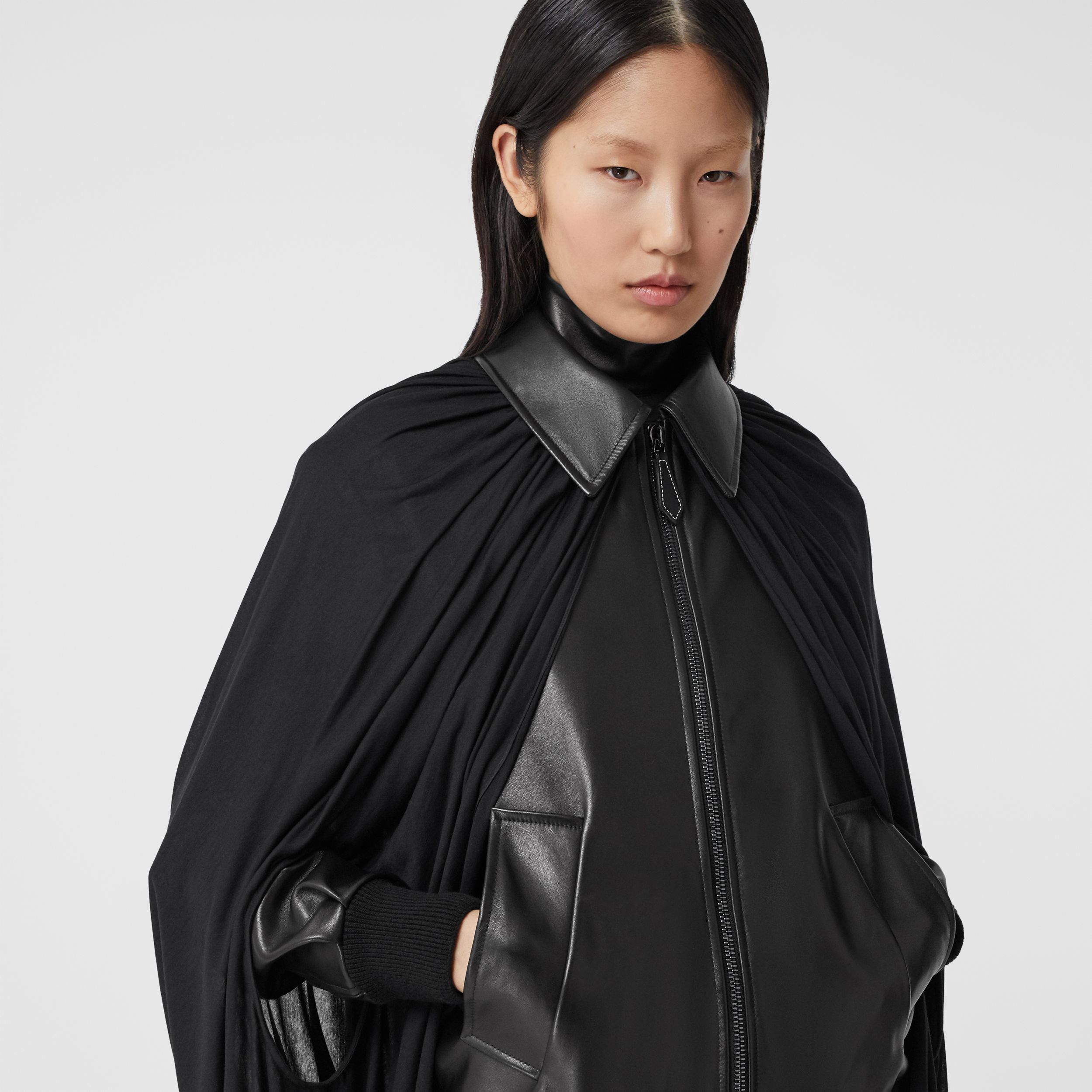 Jersey Cape Detail Lambskin Harrington Jacket in Black - Women | Burberry United States - 2