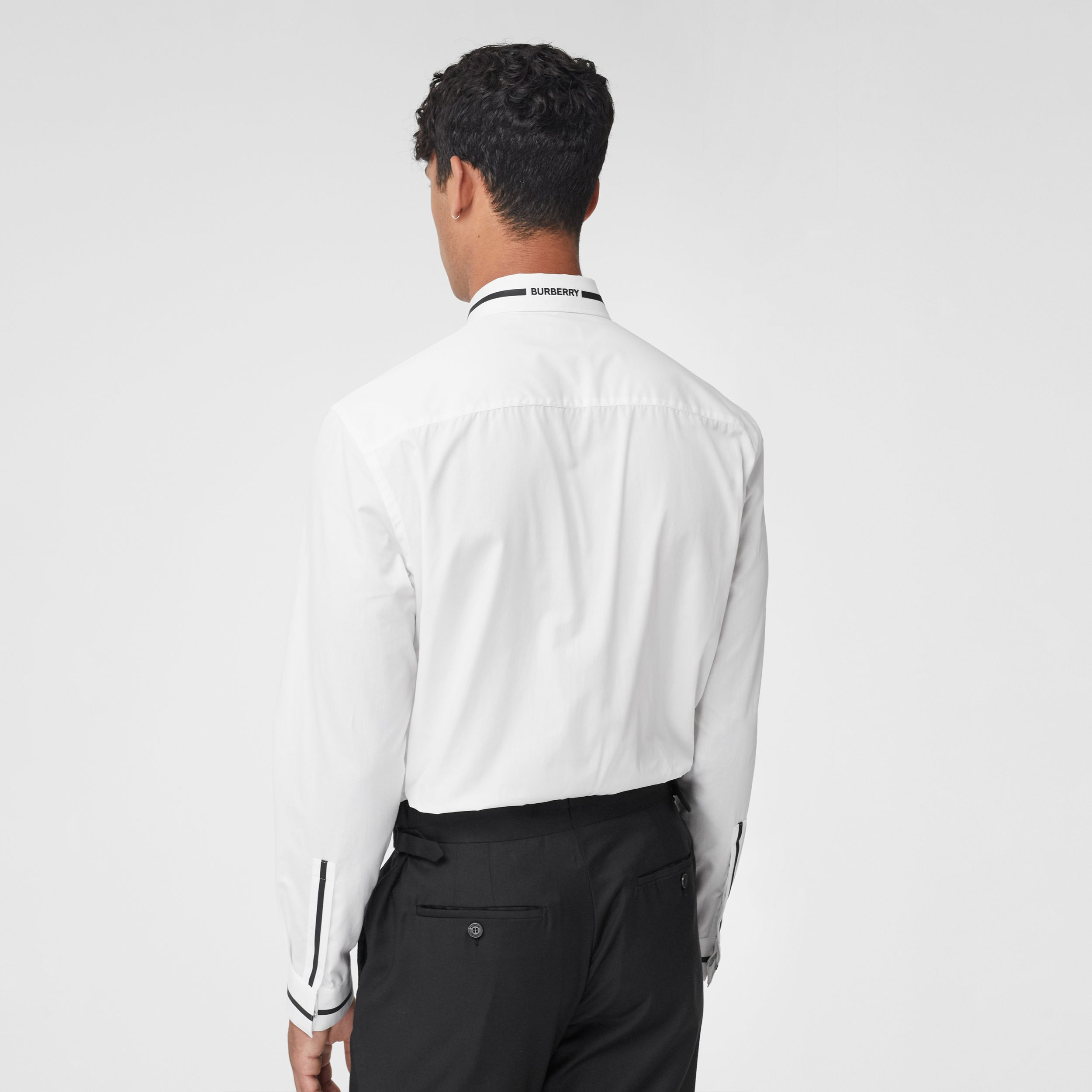 Logo Appliqué Cotton Poplin Shirt in Optic White - Men | Burberry - 3