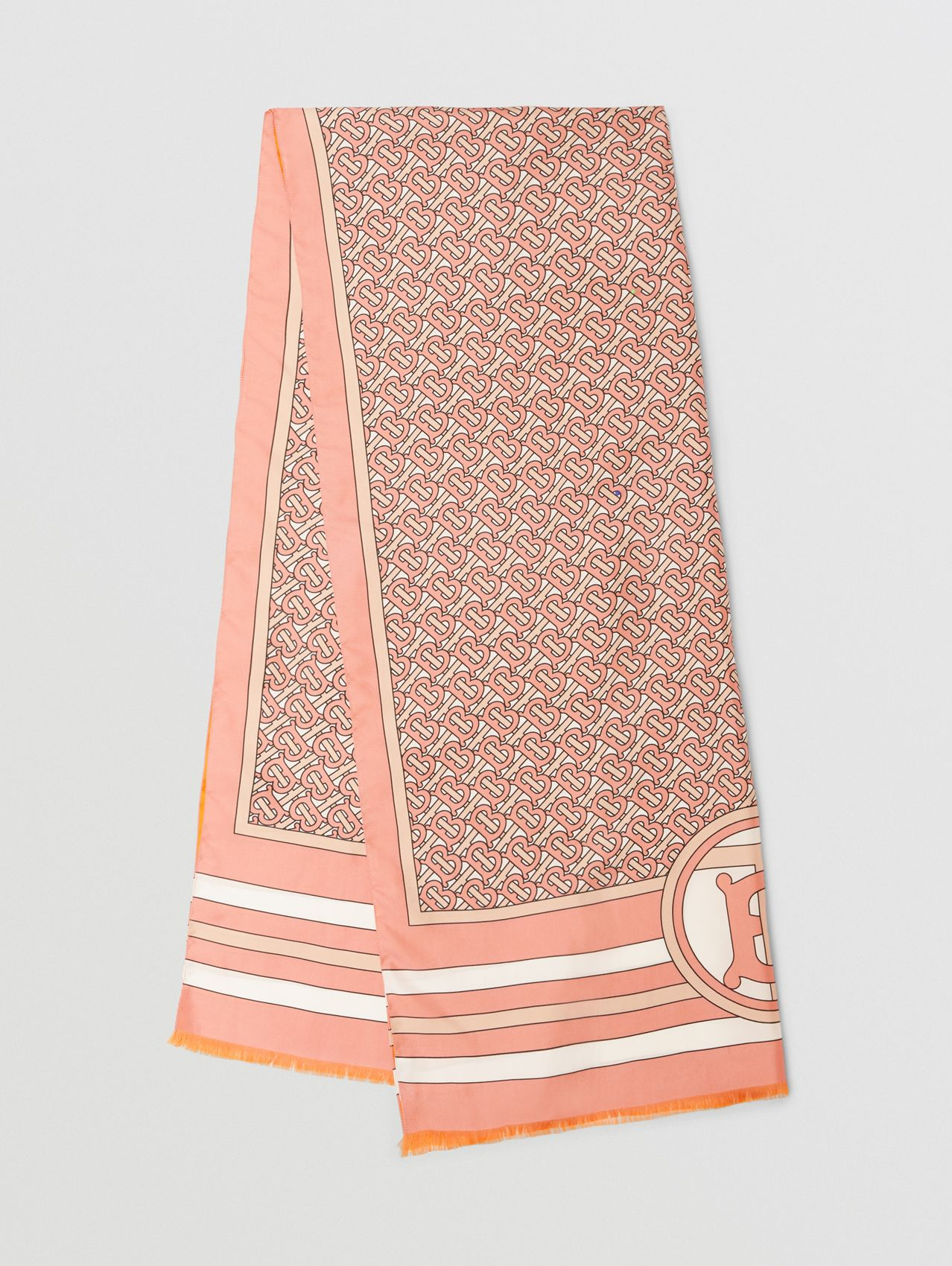 Reversible Monogram Print Silk Scarf in Bubblegum Pink