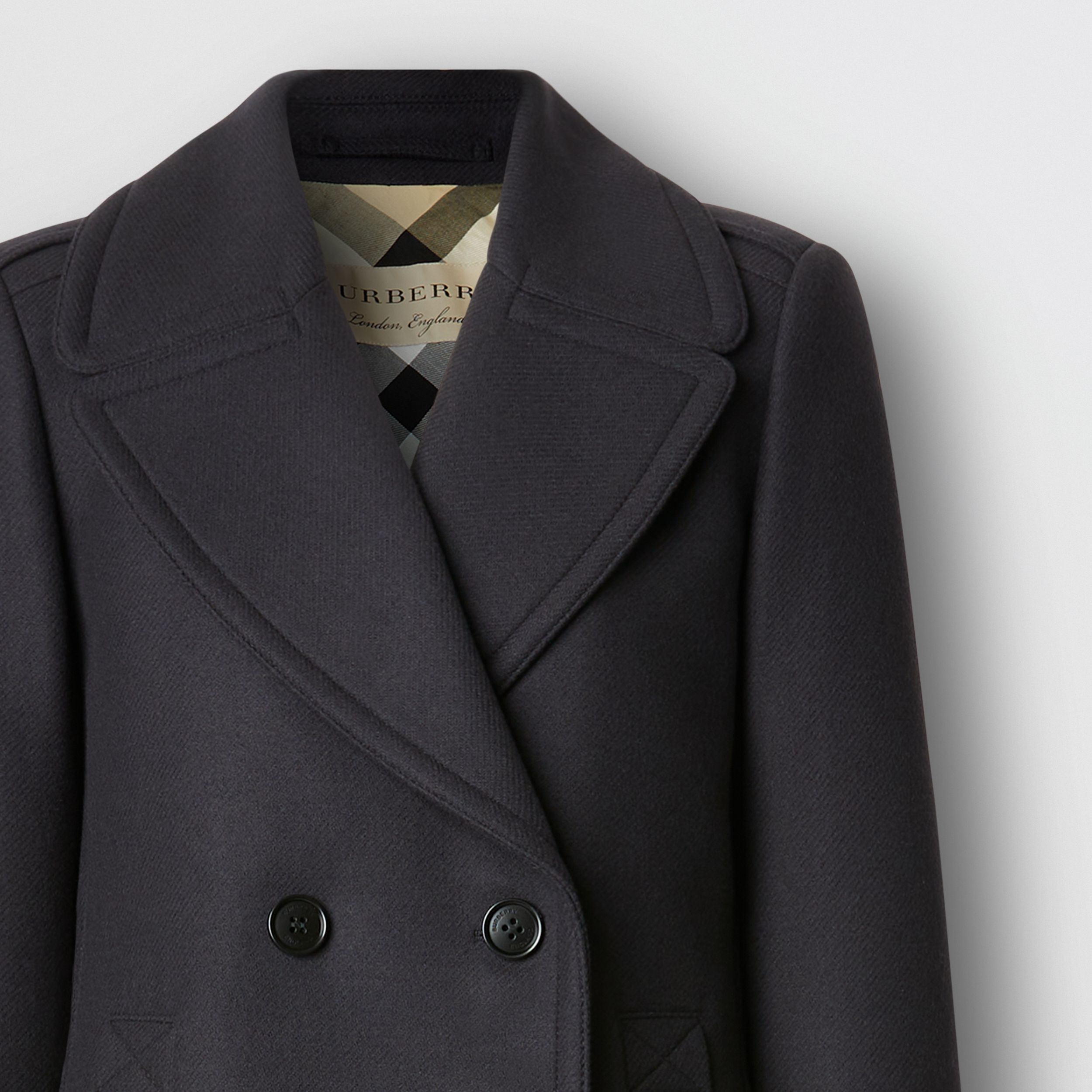 Wool Cashmere Blend Pea Coat in Navy - Women | Burberry - 2