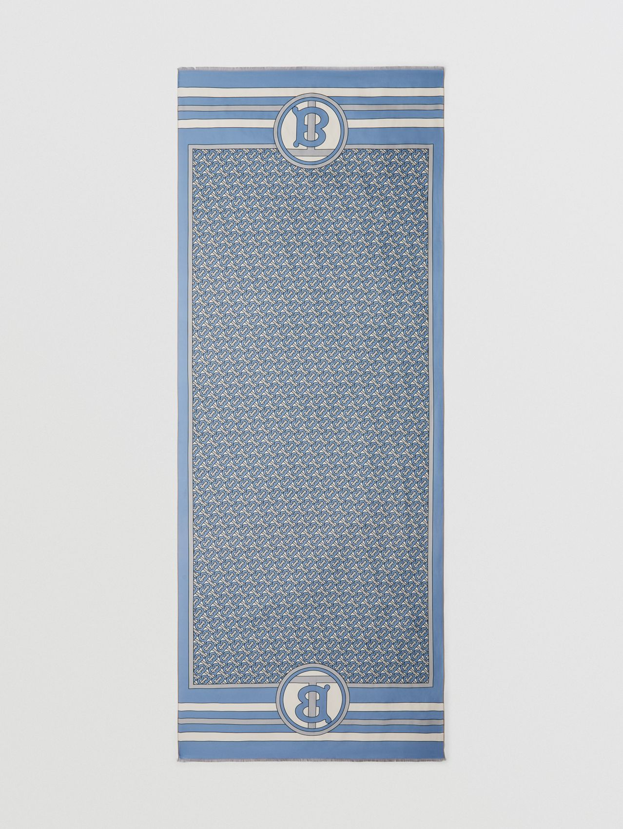 Reversible Monogram Print Silk Scarf in Pale Blue