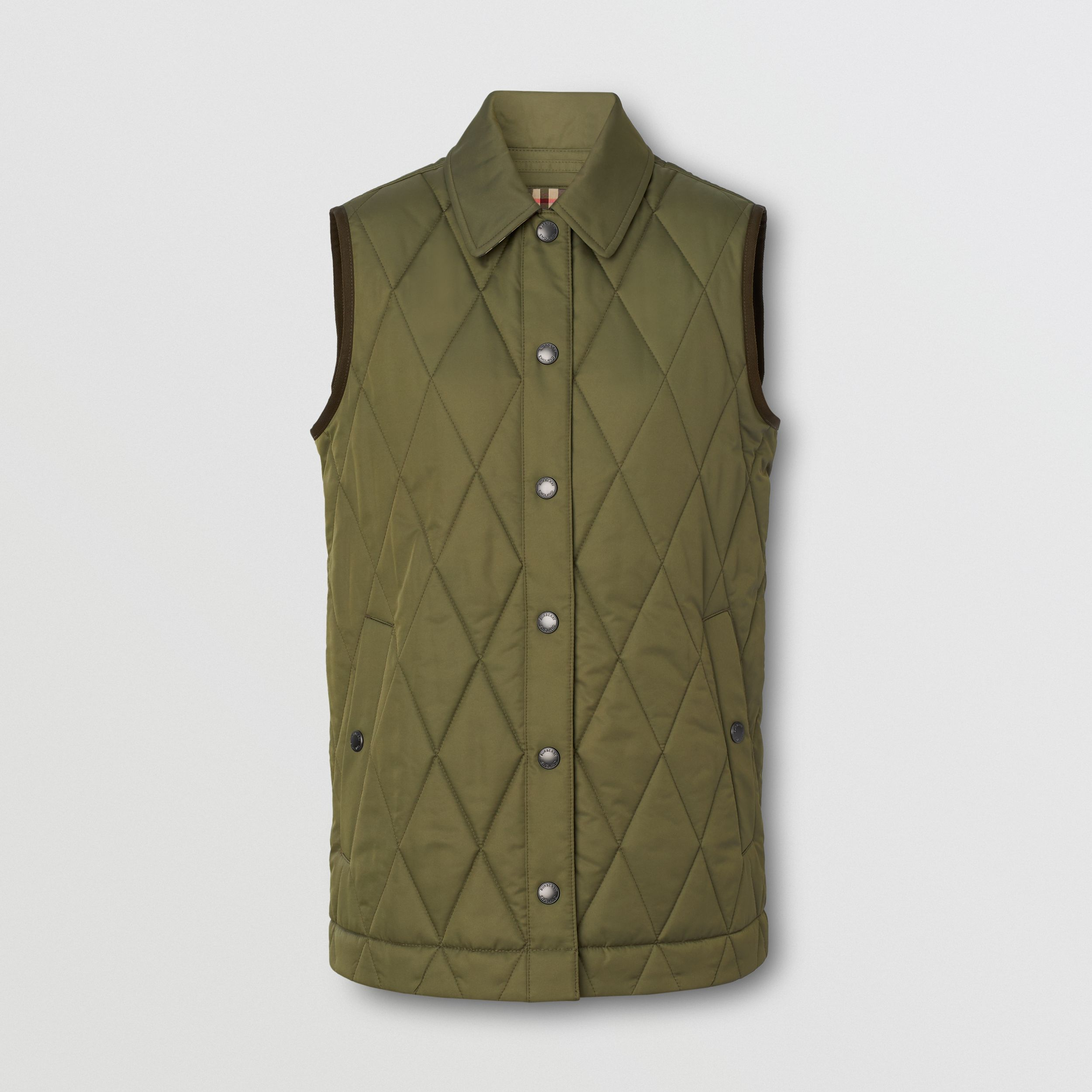 Diamond Quilted Thermoregulated Gilet in Olive Green - Women | Burberry - 1