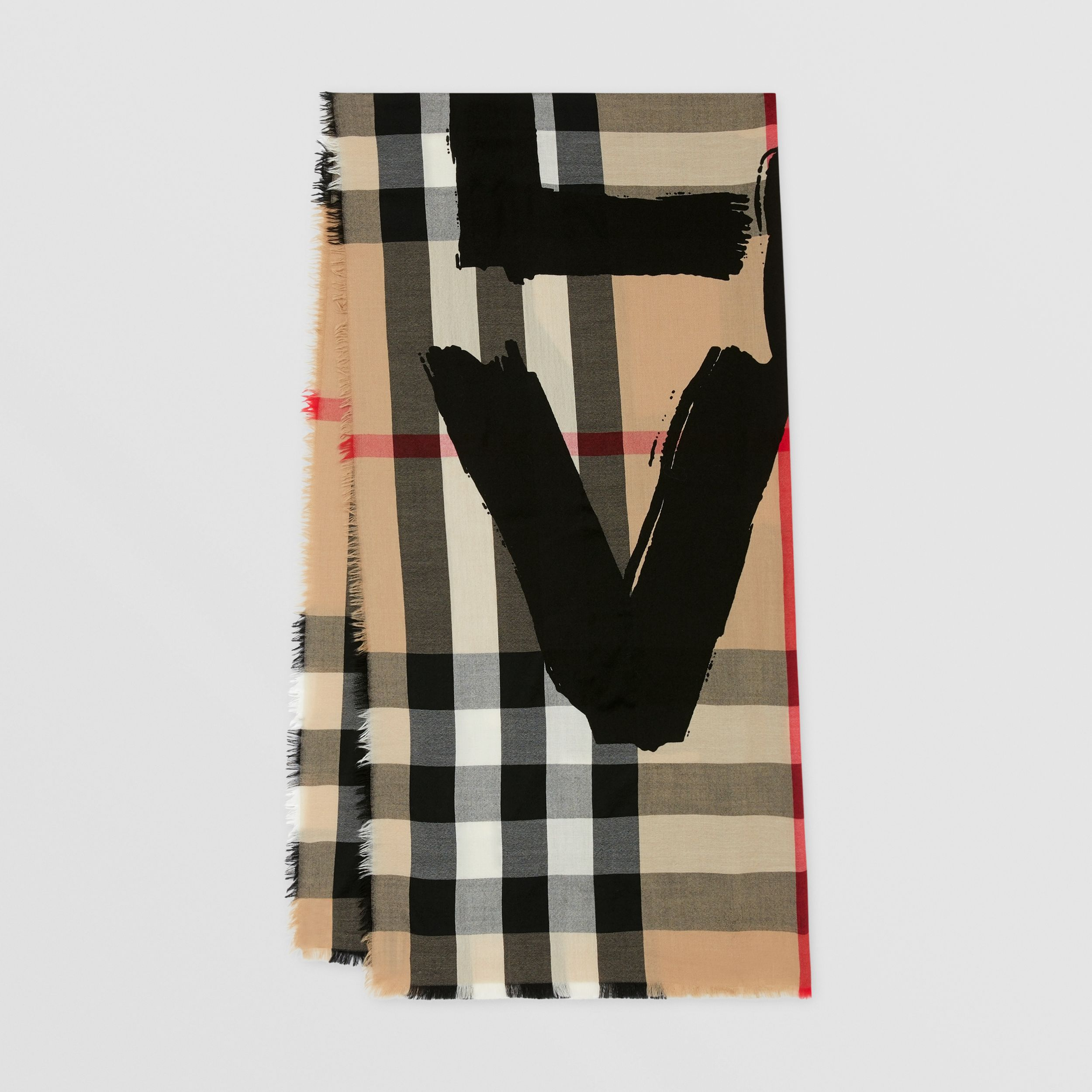 Love Print Lightweight Check Cashmere Scarf in Archive Beige | Burberry - 1