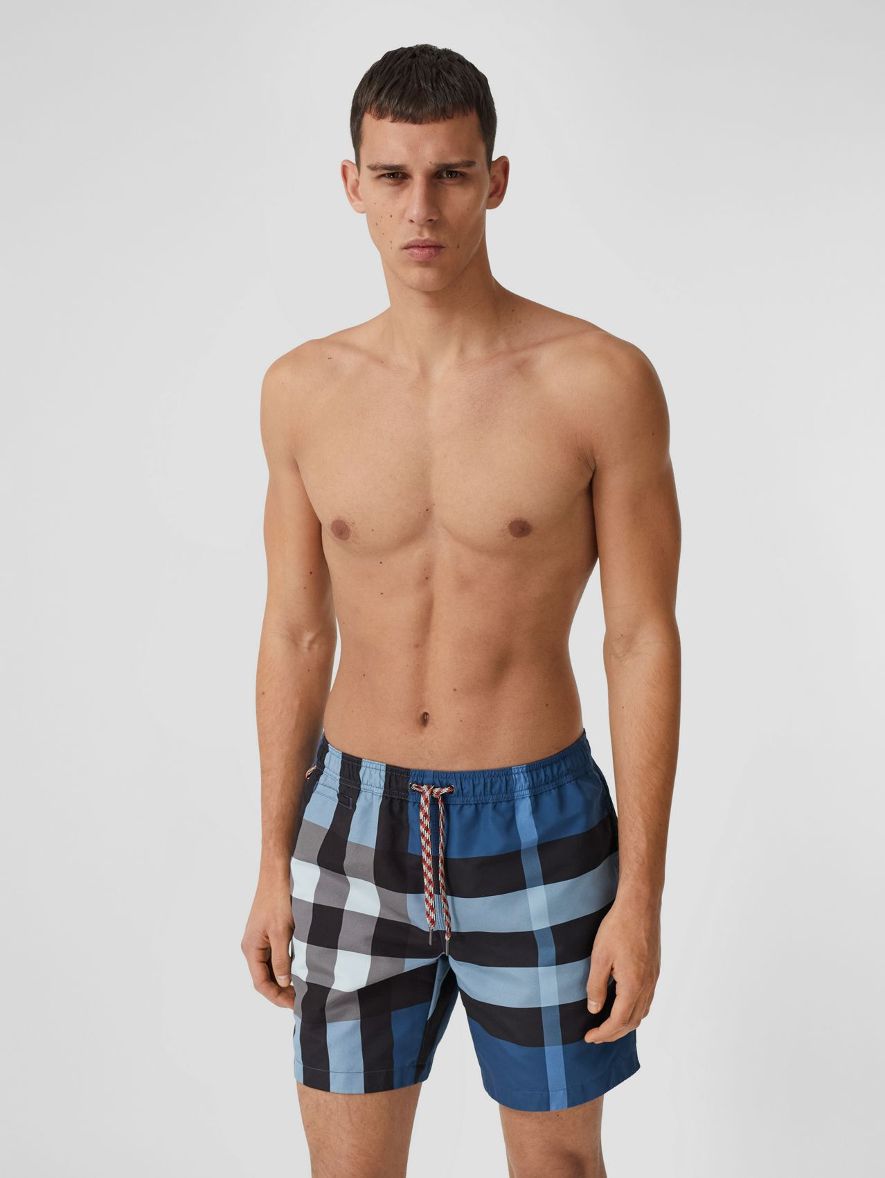 Check Print Drawcord Swim Shorts in Dark Cerulean Blue