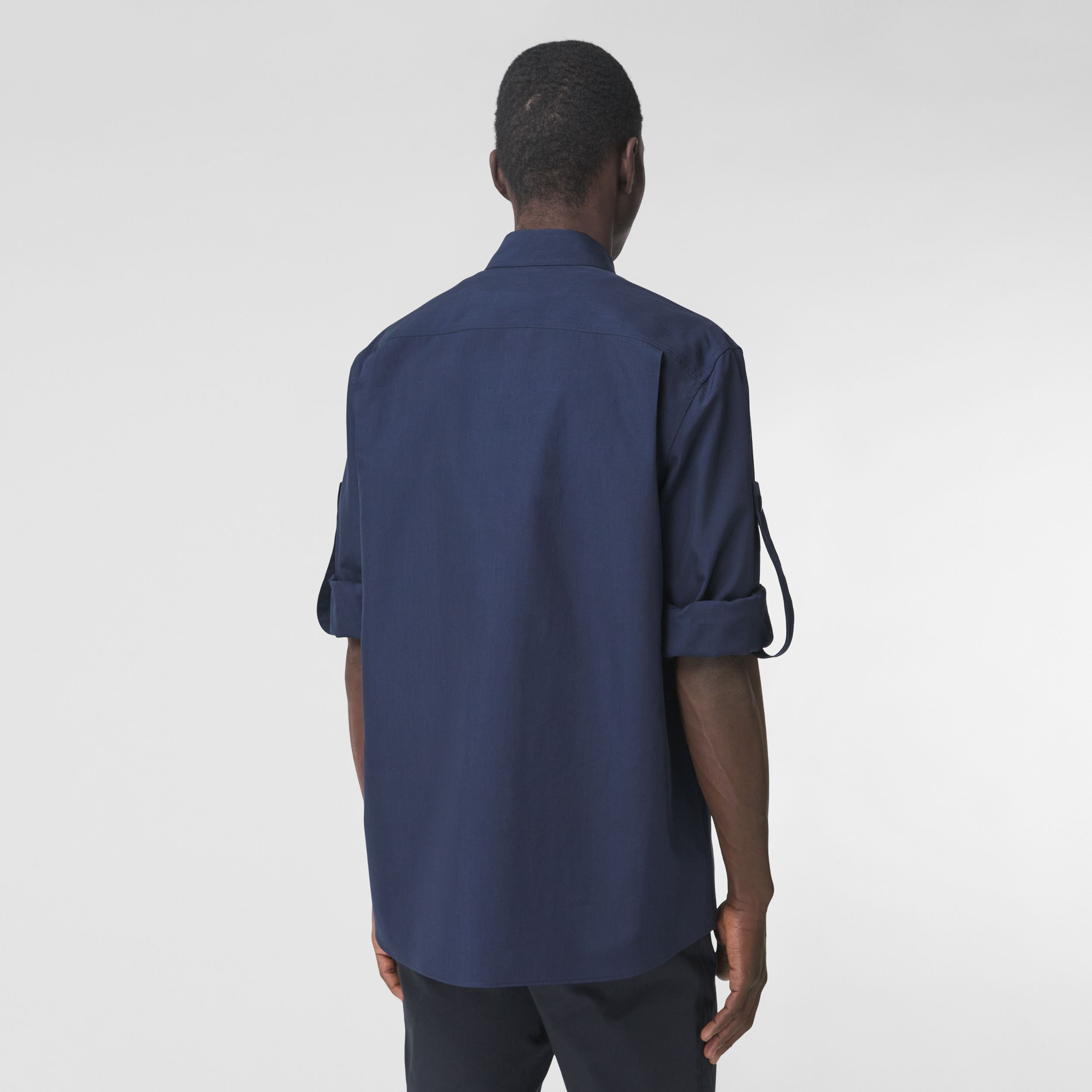 Logo Appliqué Cotton Silk Shirt in Ink Blue - Men | Burberry - 3