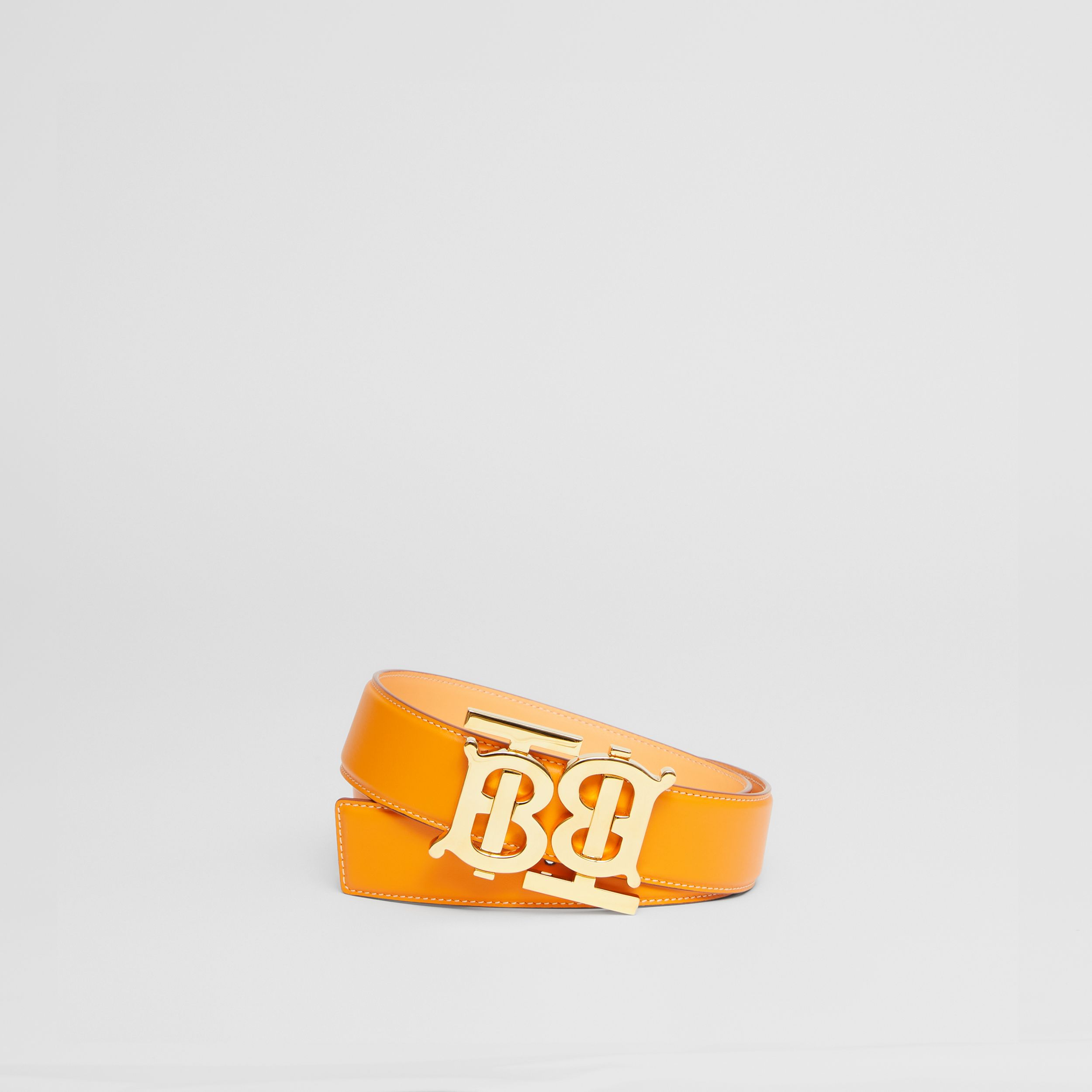 Double Monogram Motif Leather Belt in Deep Orange - Women | Burberry - 1
