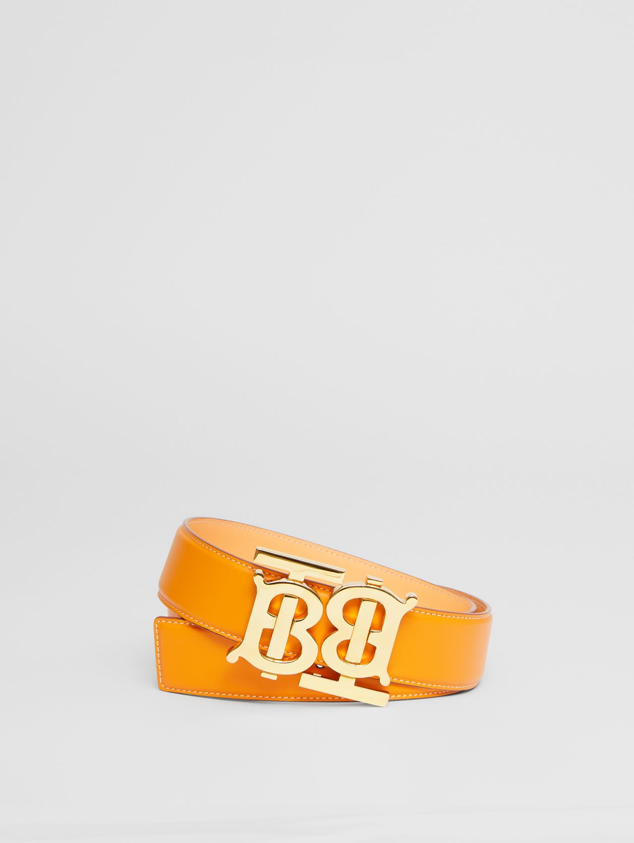 Double Monogram Motif Leather Belt in Deep Orange