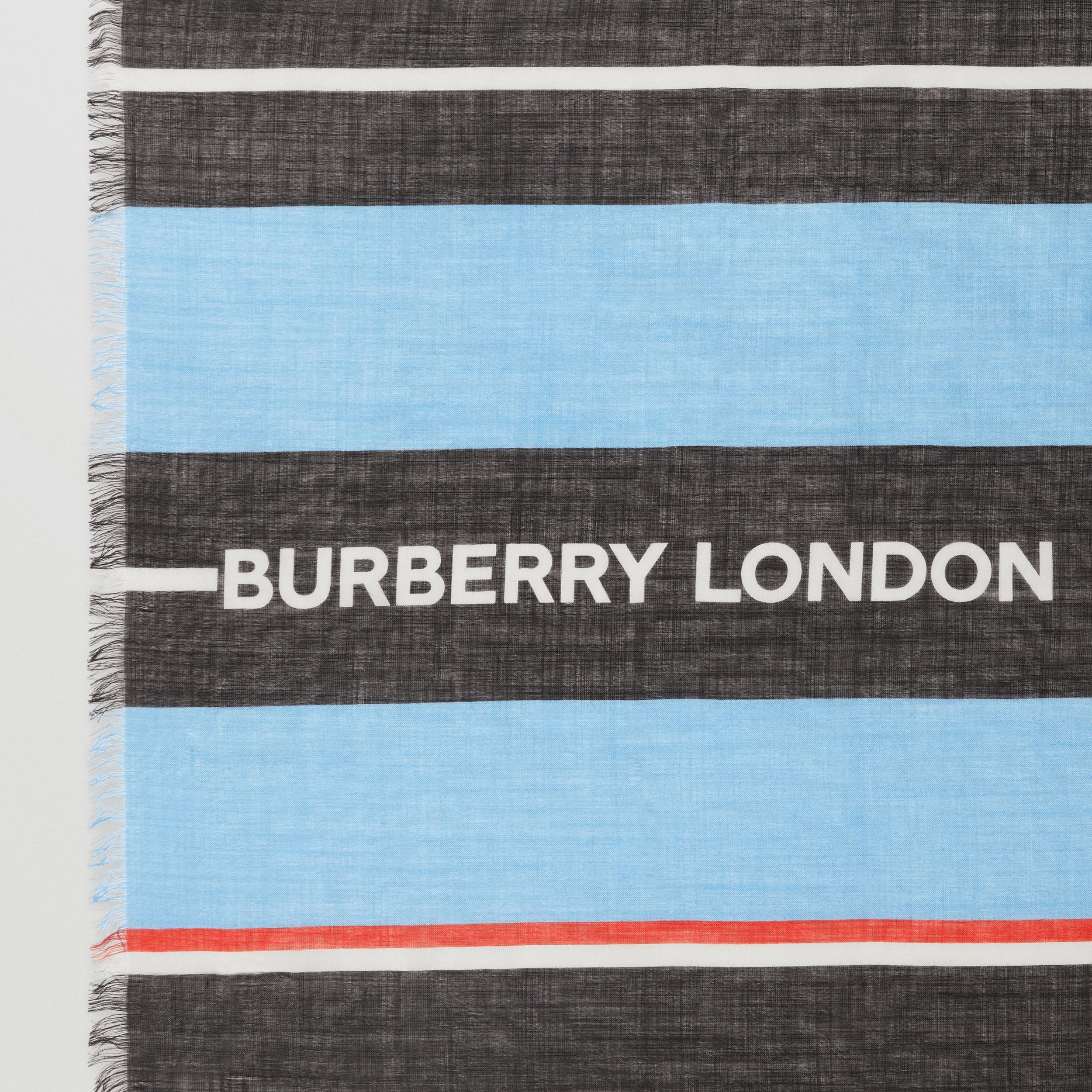 Monogram and Stripe Print Silk Wool Scarf in Blue Topaz/bridle Brown | Burberry Hong Kong S.A.R. - 2