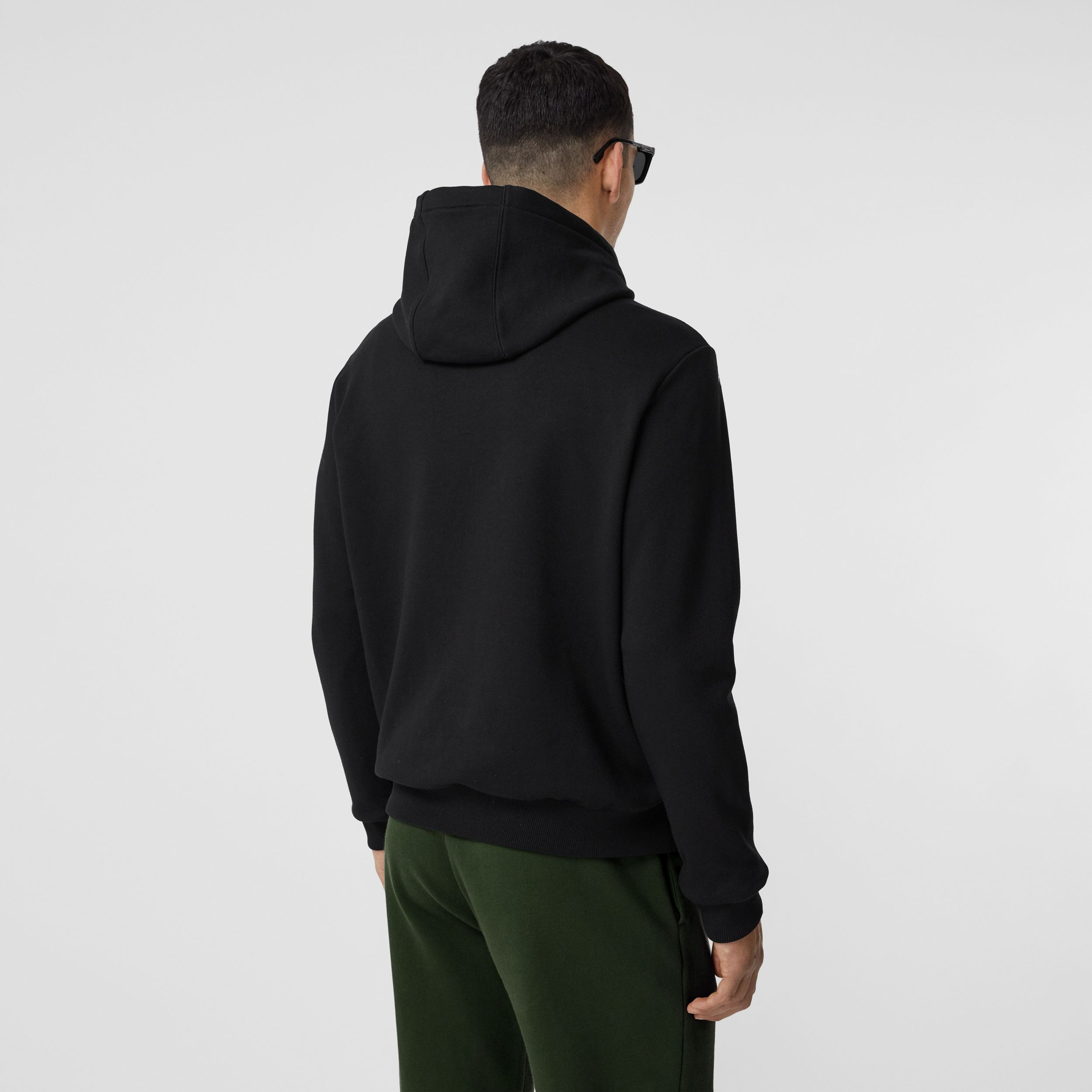 Love Print Cotton Hoodie in Black - Men | Burberry Singapore - 3