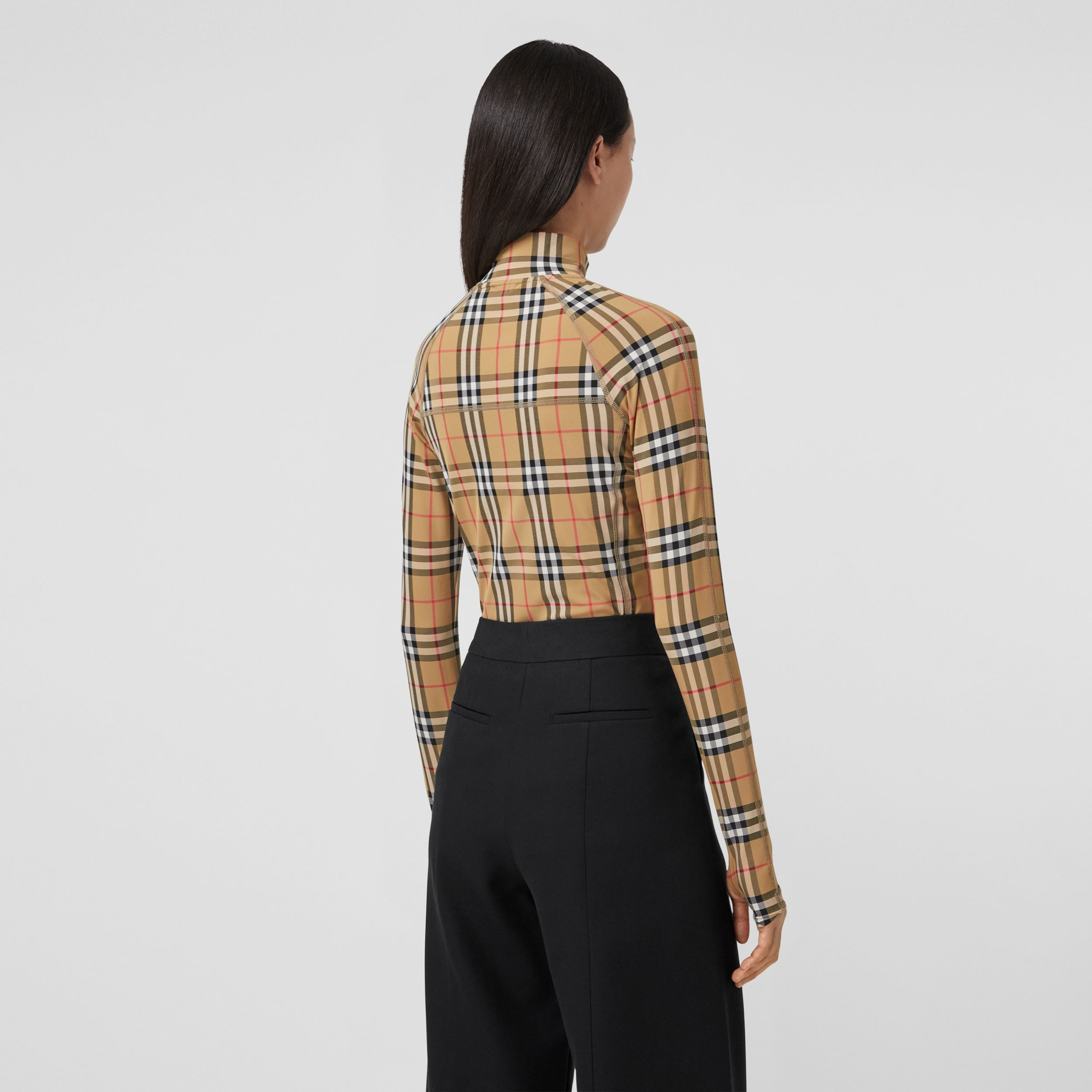 Vintage Check Stretch Jersey Turtleneck Top in Archive Beige - Women | Burberry Australia - 3
