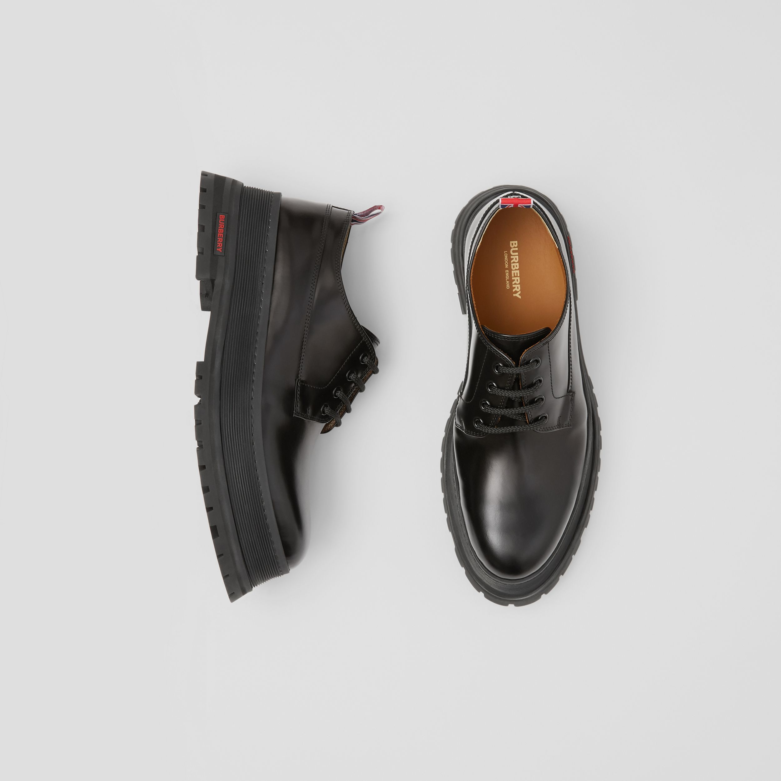 Logo Detail Leather Derby Shoes in Black - Men | Burberry - 1