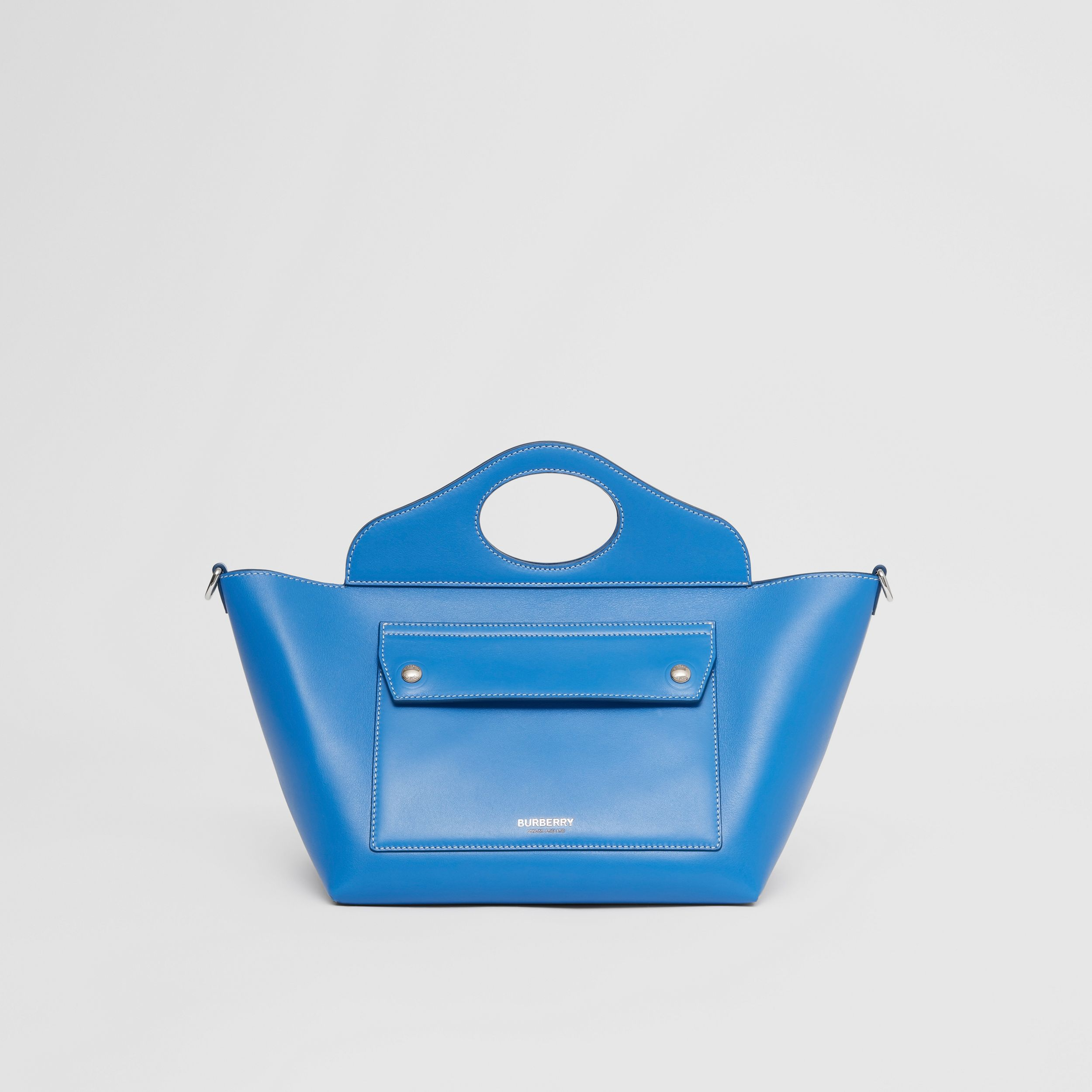 Mini Leather Soft Pocket Tote in Warm Royal Blue - Women | Burberry Australia - 1