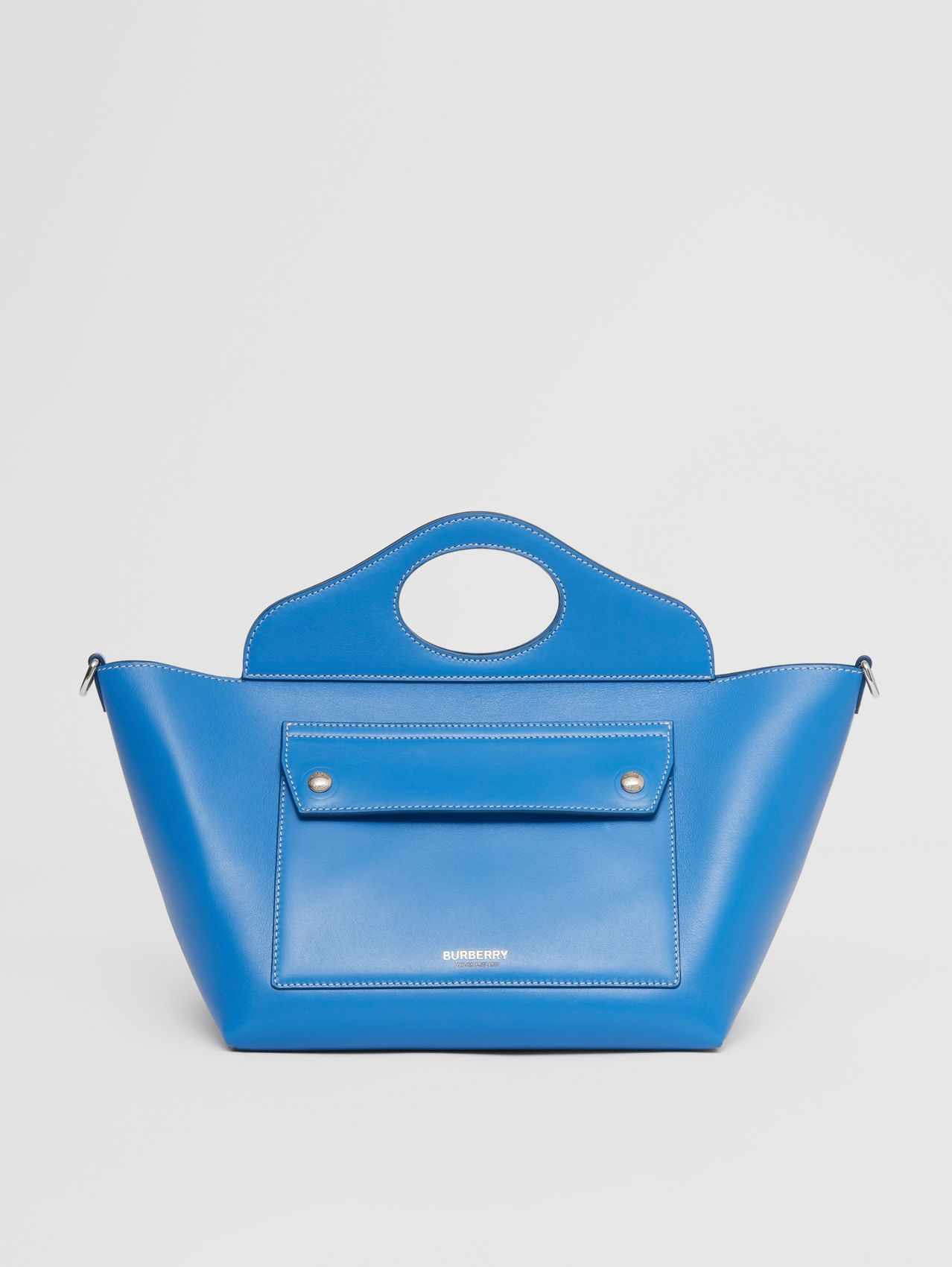 Mini Leather Soft Pocket Tote in Warm Royal Blue