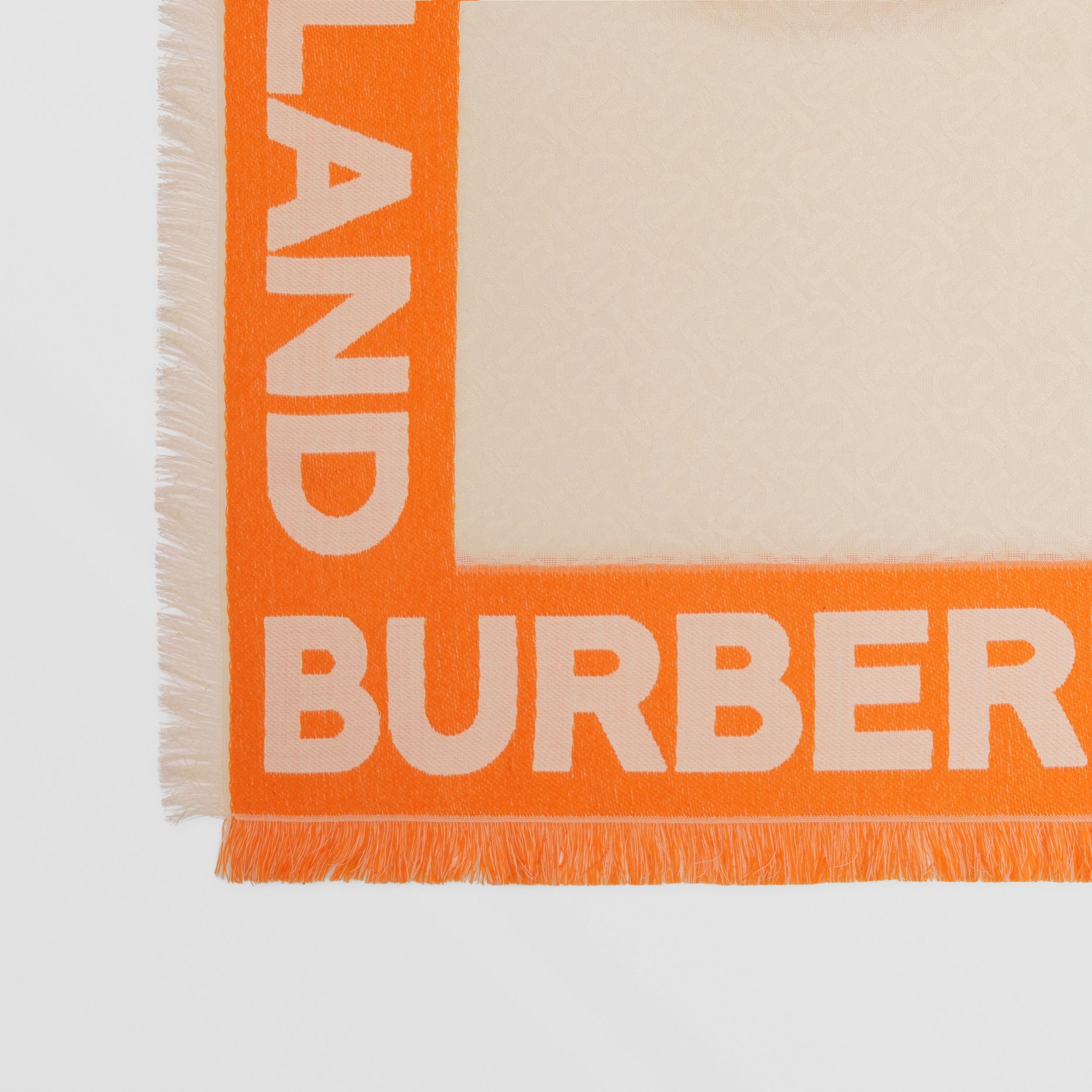 Monogram Fil Coupé Silk Blend Large Square Scarf in Orange | Burberry - 2