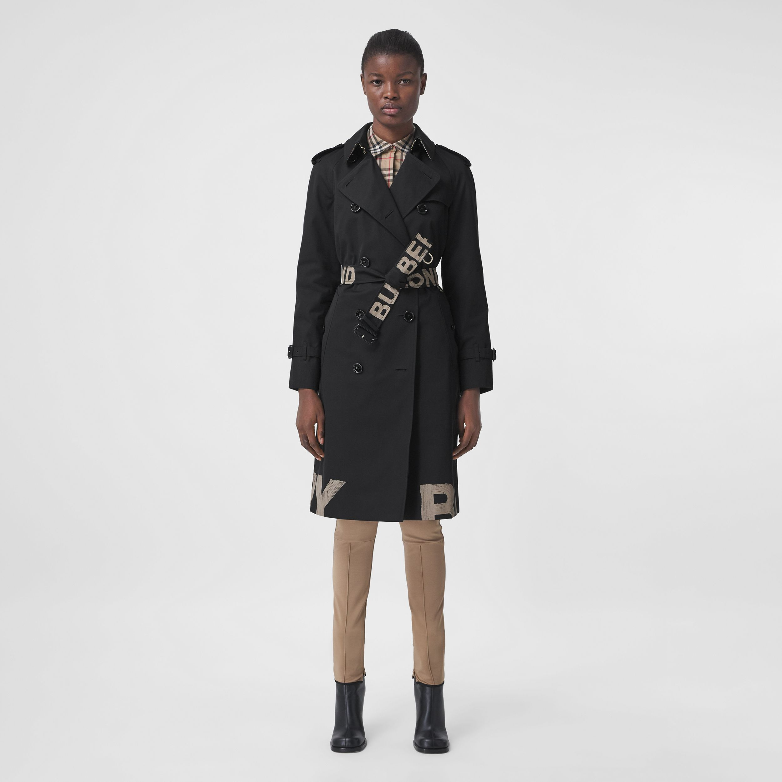 Logo Print Cotton Gabardine Trench Coat in Black - Women | Burberry - 1