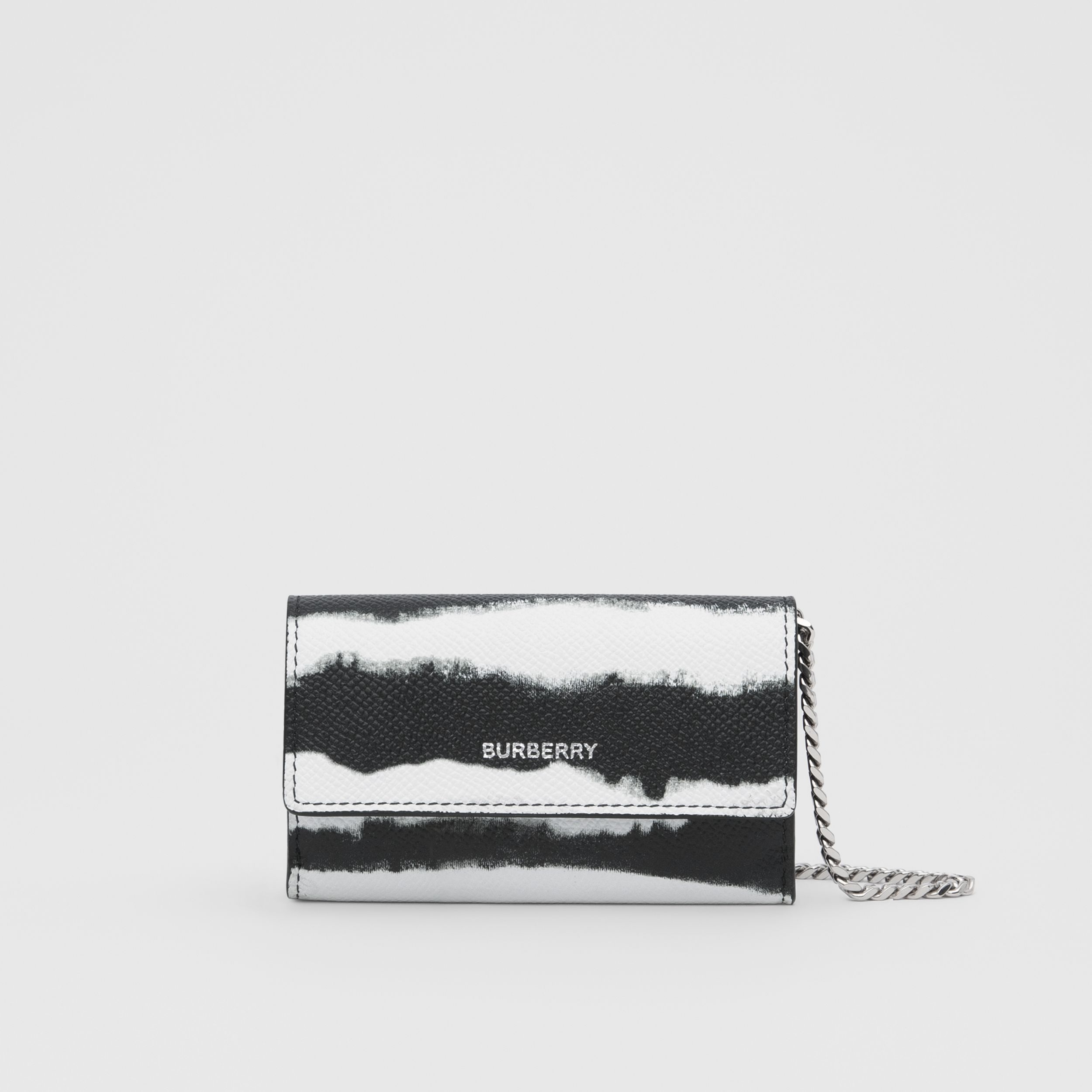 Small Watercolour Print Wallet with Detachable Strap in Black/white | Burberry - 1