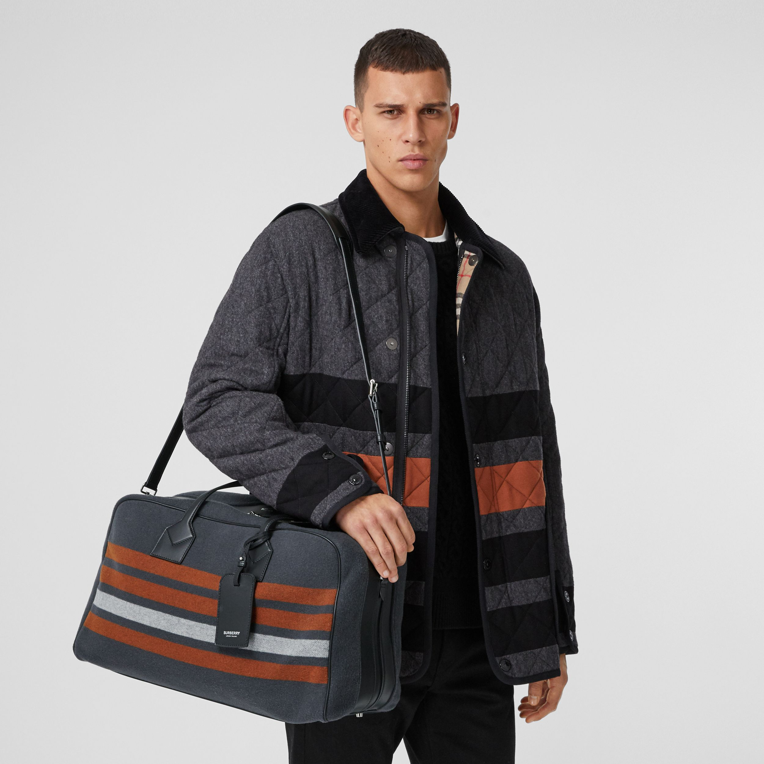 Striped Wool and Leather Cube Holdall in Mid Grey - Men | Burberry Hong Kong S.A.R. - 3