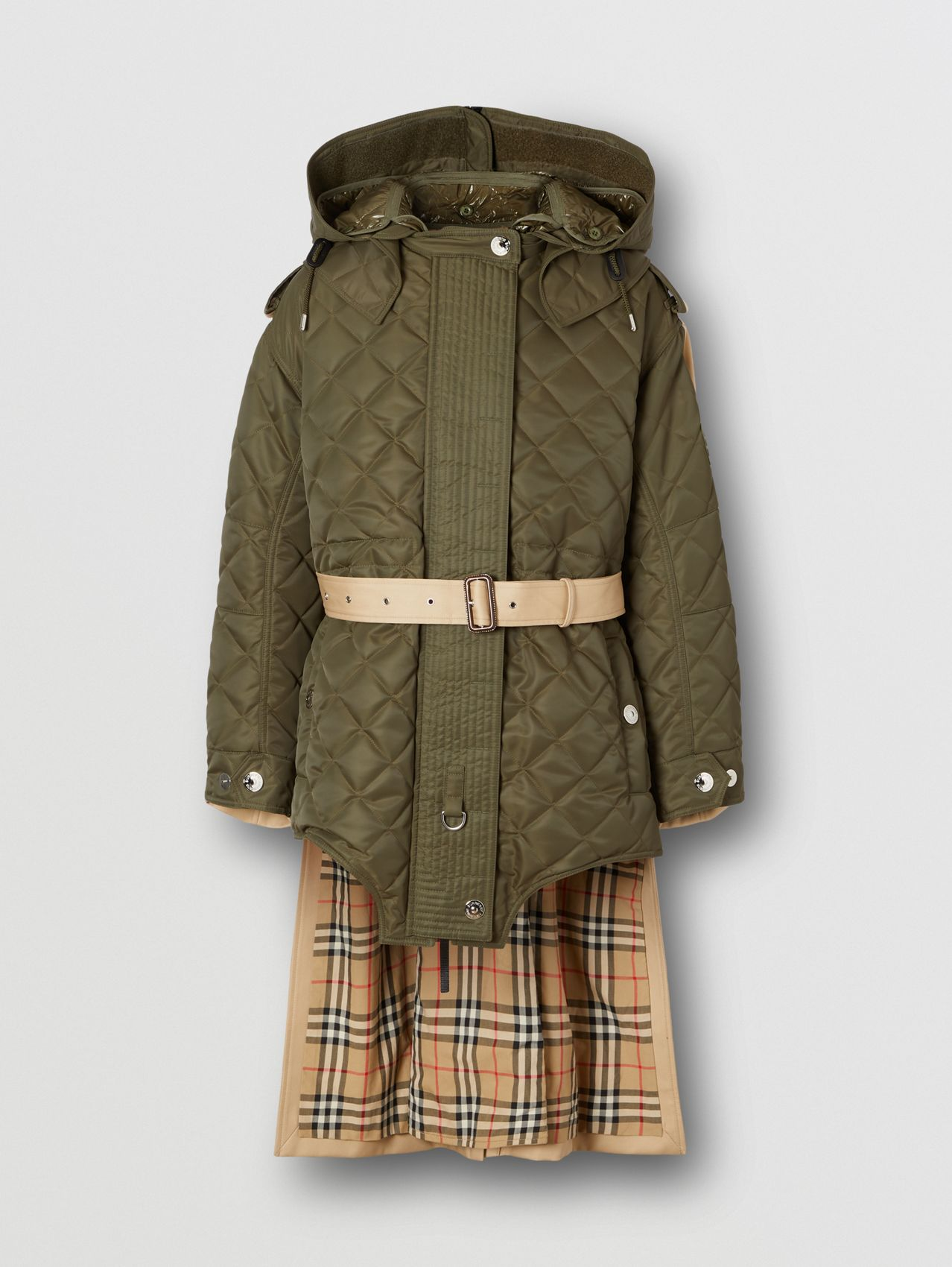 Detachable Hood Quilted Nylon and Cotton Parka in Olive Green