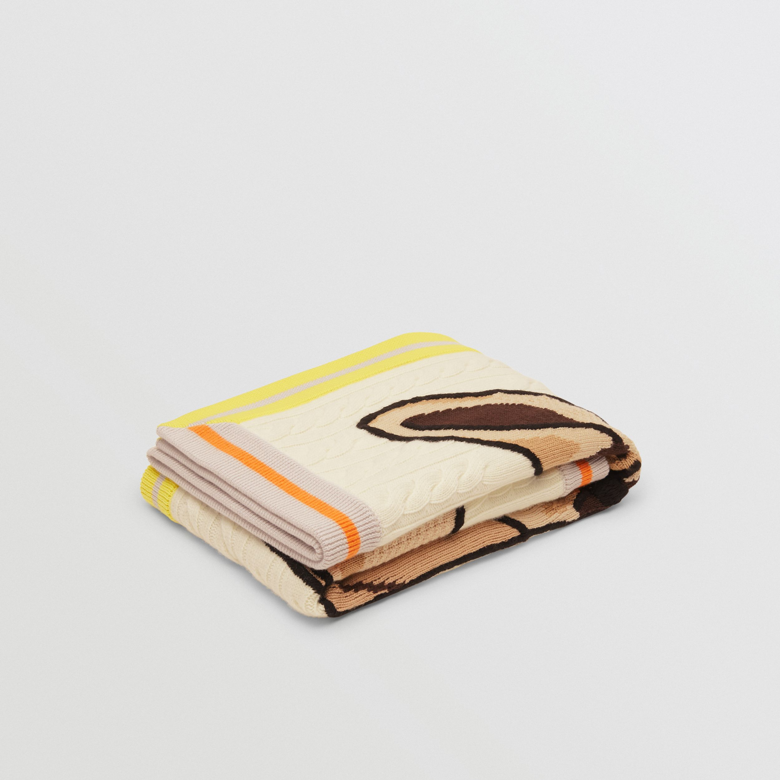 Deer Motif Wool Cashmere Baby Blanket in Ivory - Children | Burberry - 1