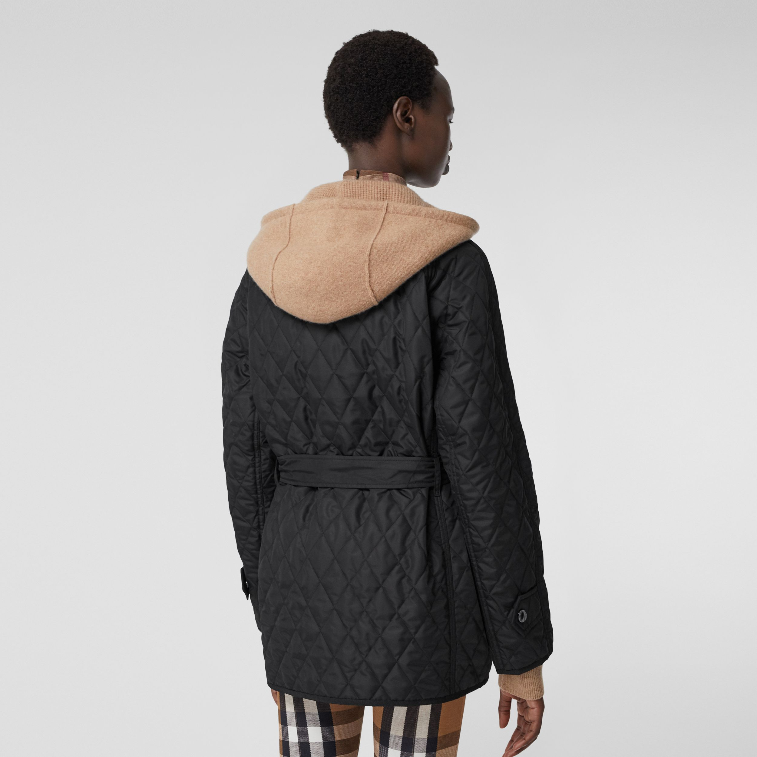 Diamond Quilted Nylon Canvas Field Jacket in Black - Women | Burberry Canada - 3