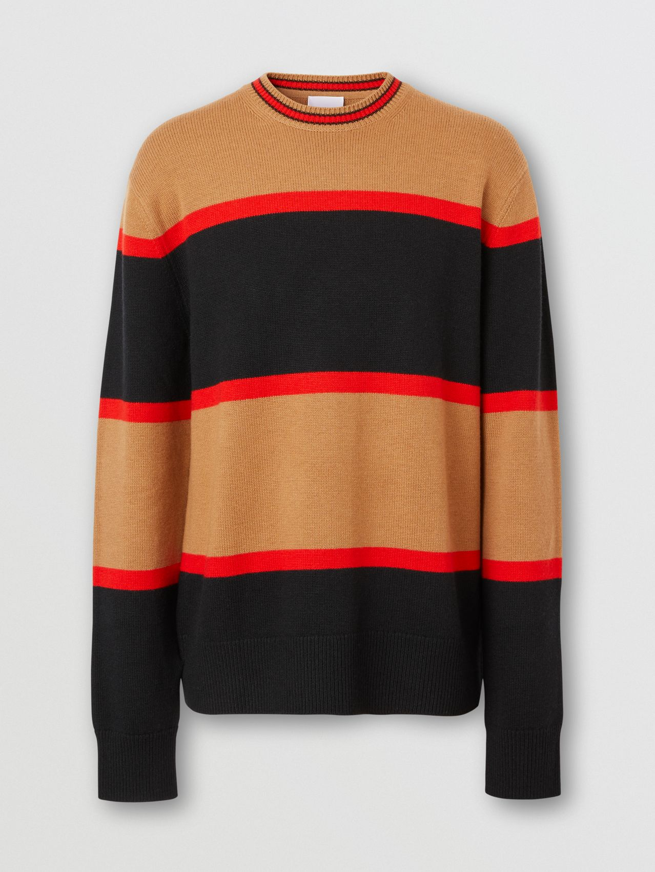 Striped Wool Cashmere Sweater in Black