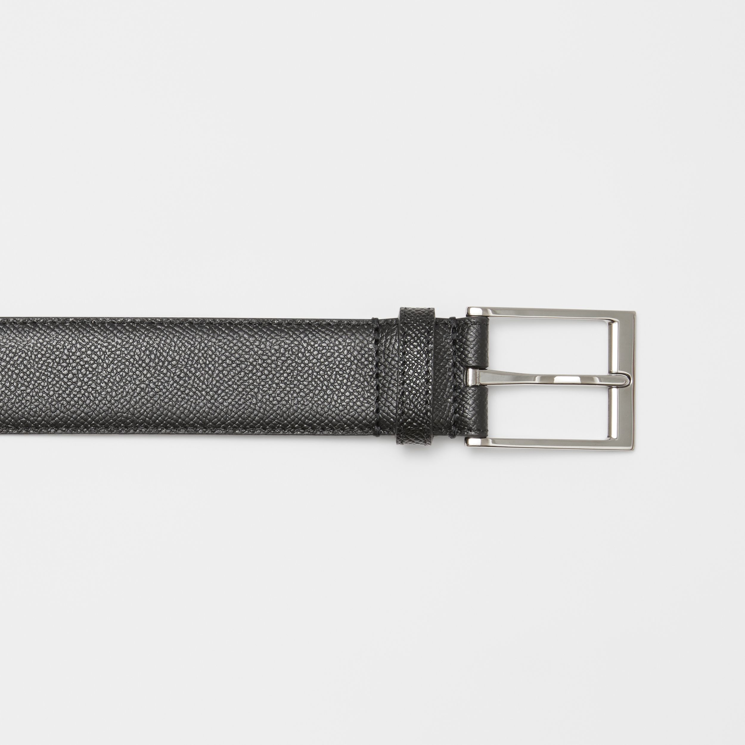 Icon Stripe Print Grainy Leather Belt in Black - Men | Burberry - 2