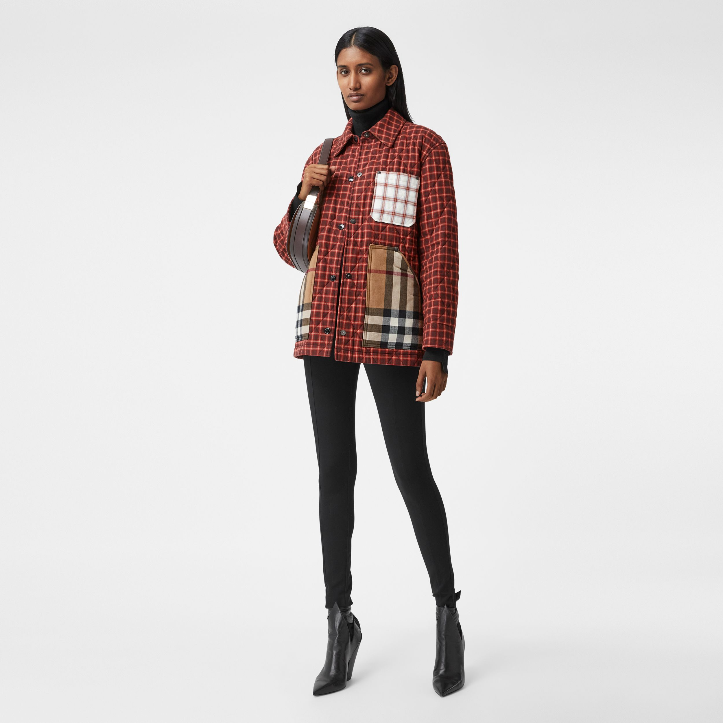 Contrast Pocket Check Cotton Flannel Overshirt in Burgundy - Women | Burberry - 1