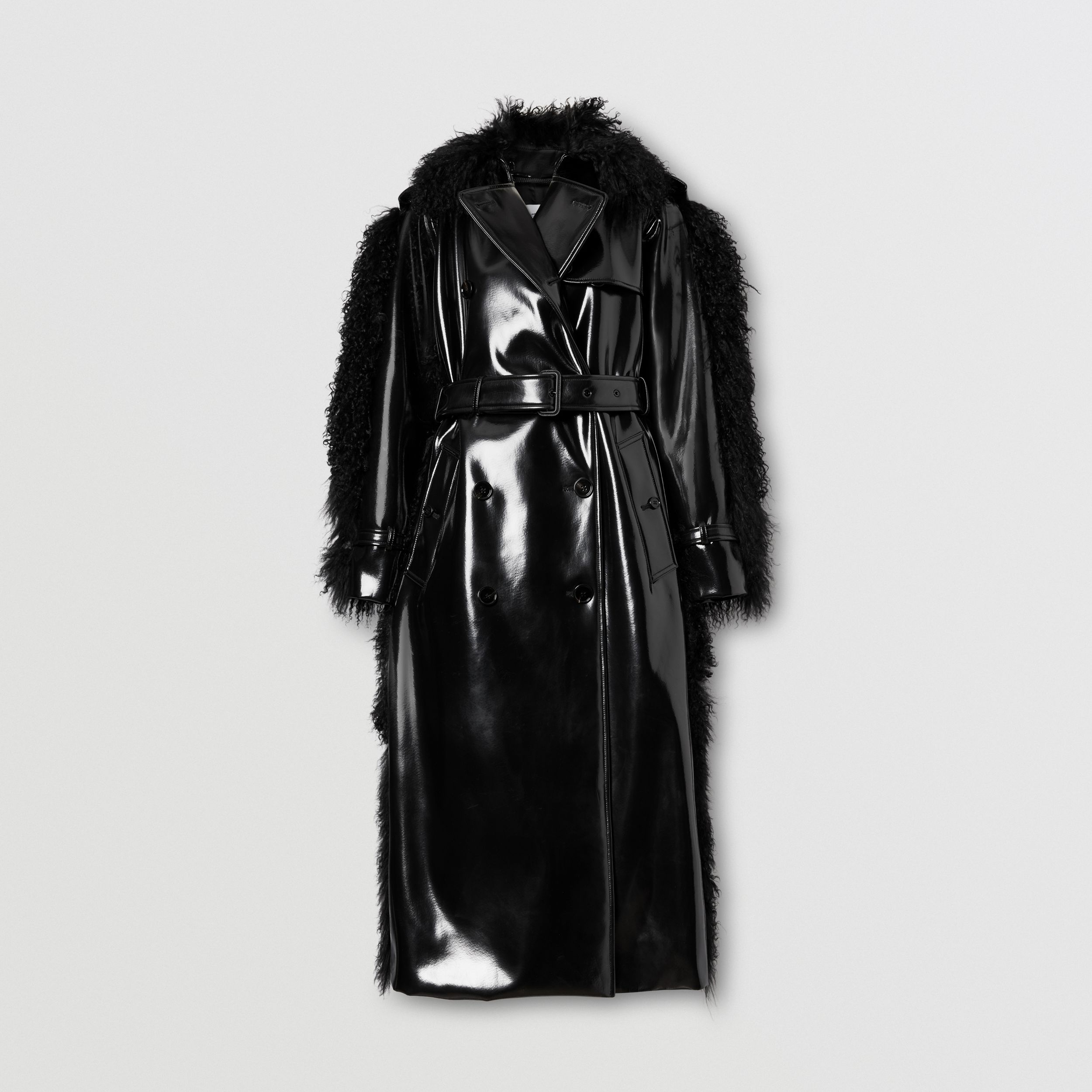 Shearling Trim Vinyl Trench Coat in Black - Women | Burberry - 4