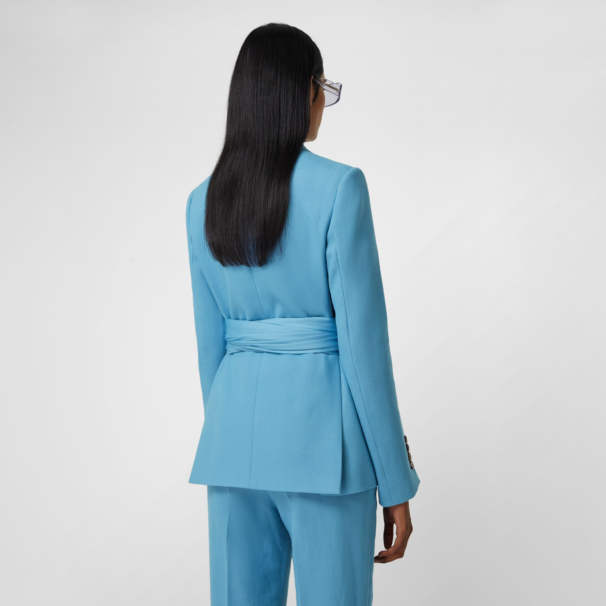 Jersey Sash Detail Wool Ramie Tailored Jacket in Blue Topaz - Women | Burberry - 3