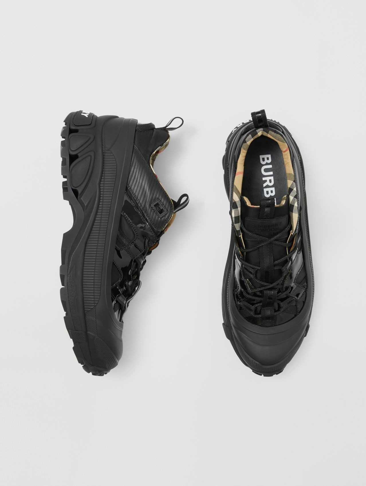 Nylon and Patent Leather Arthur Sneakers in Black