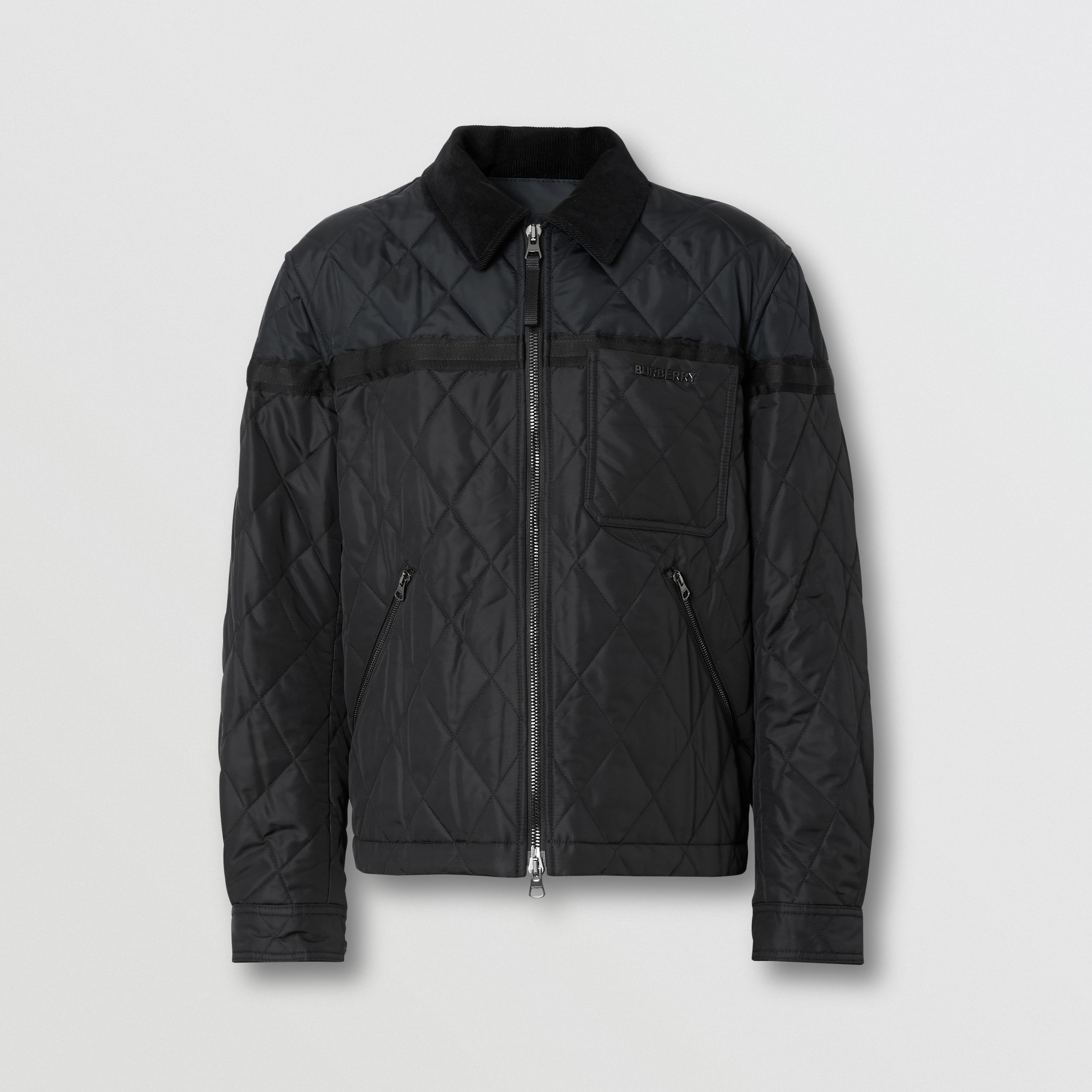 Corduroy Collar Diamond Quilted Jacket in Black - Men | Burberry - 4