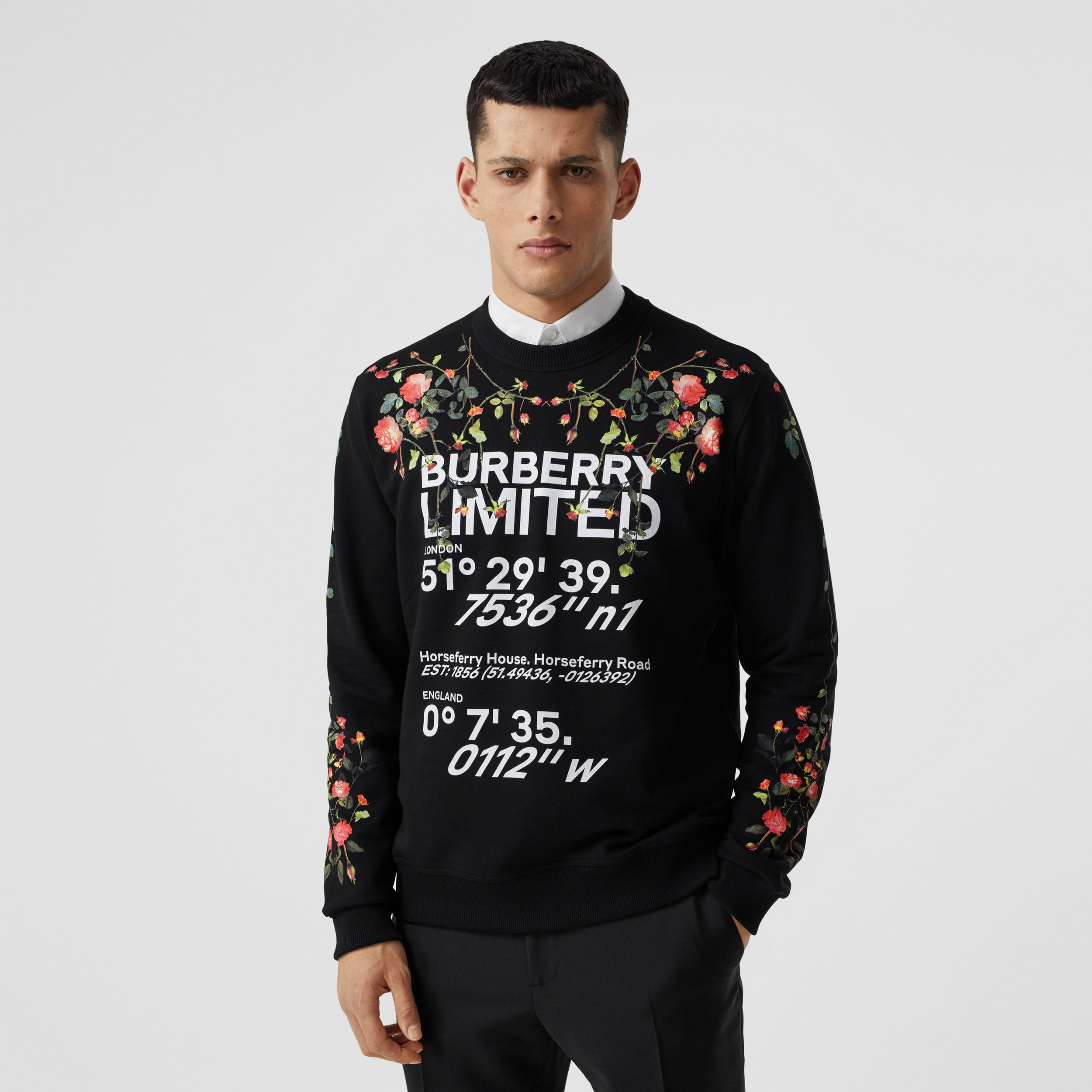 Montage Print Cotton Sweatshirt in Black - Men | Burberry Canada - 1