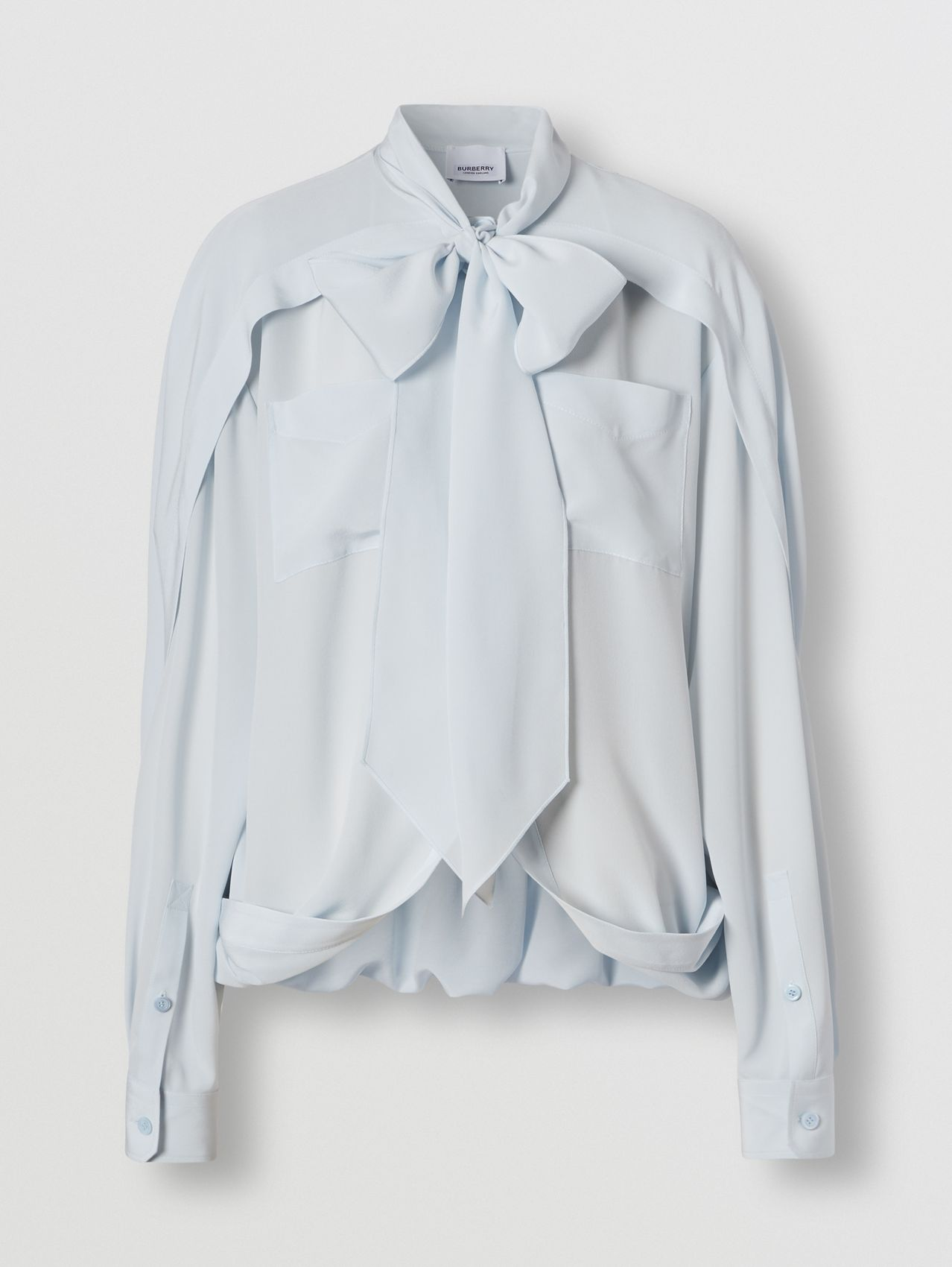 Cape Detail Silk Crepe de Chine Tie-neck Shirt in Cool Blue