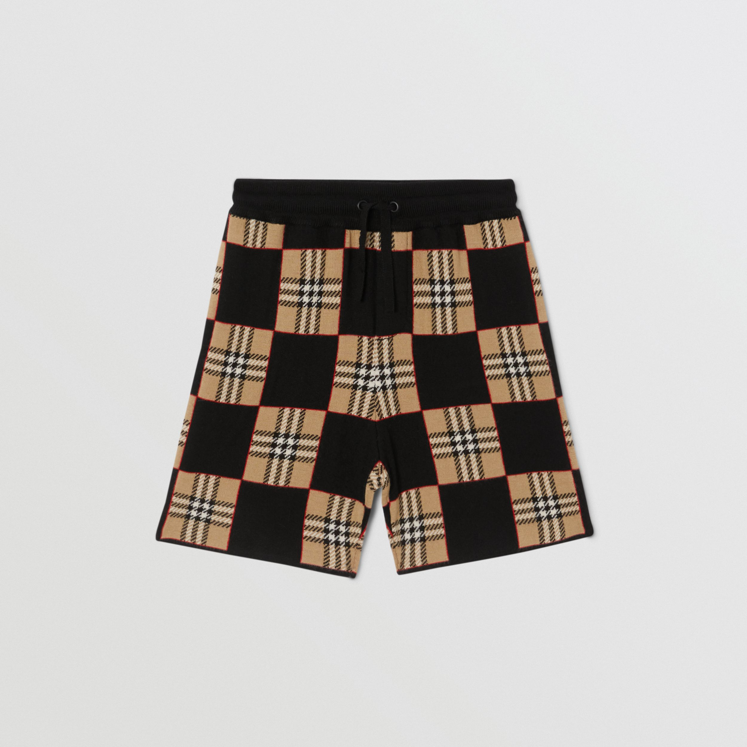 Chequer Merino Wool Jacquard Shorts in Archive Beige | Burberry - 1