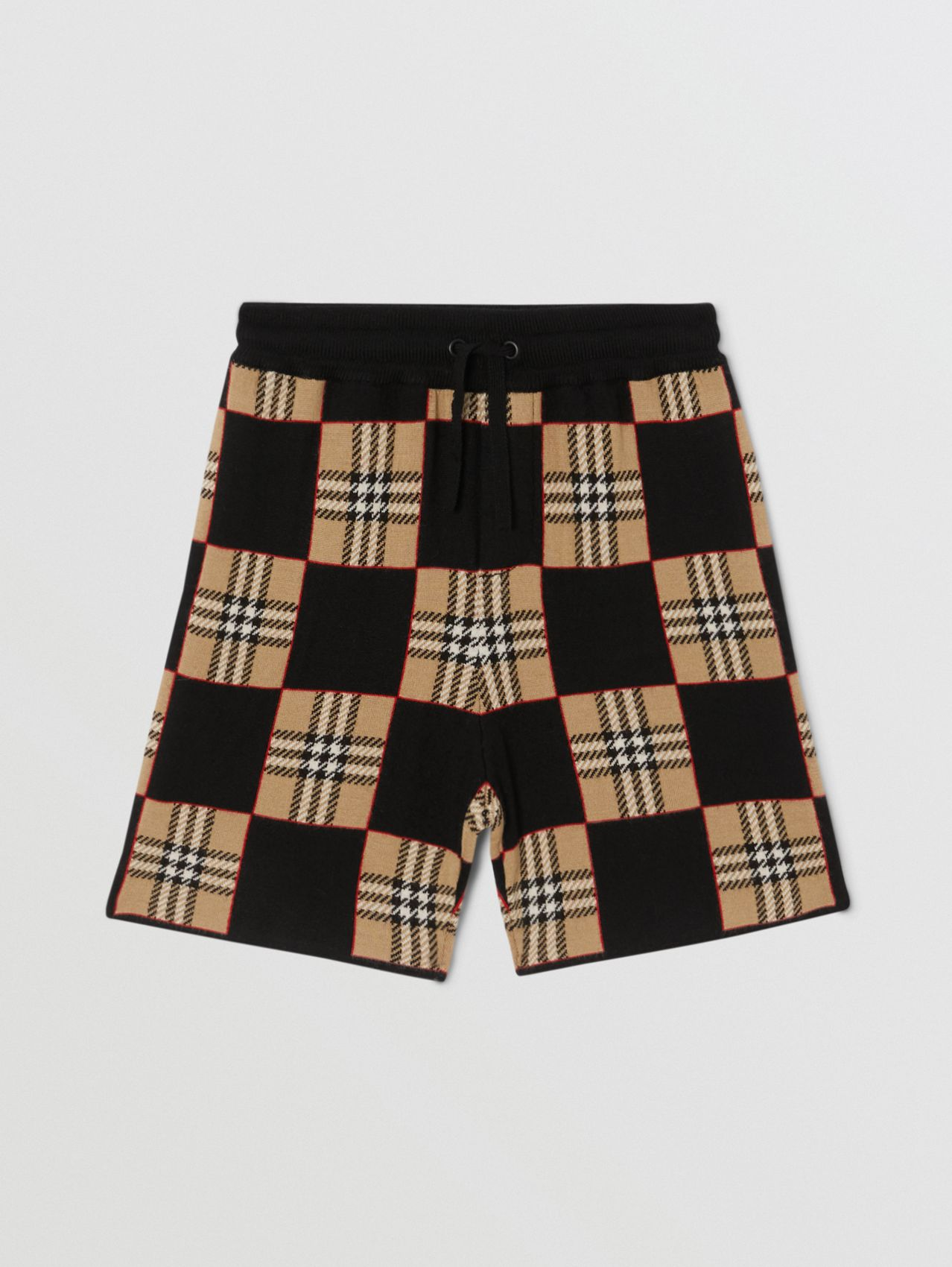Chequer Merino Wool Jacquard Shorts in Archive Beige